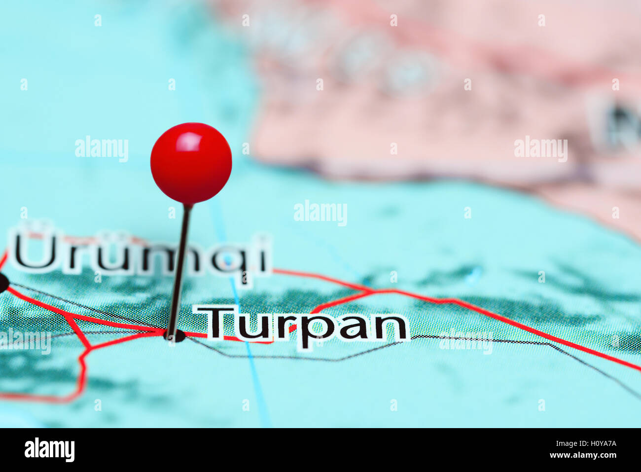 Turpan pinned on a map of China - Stock Image