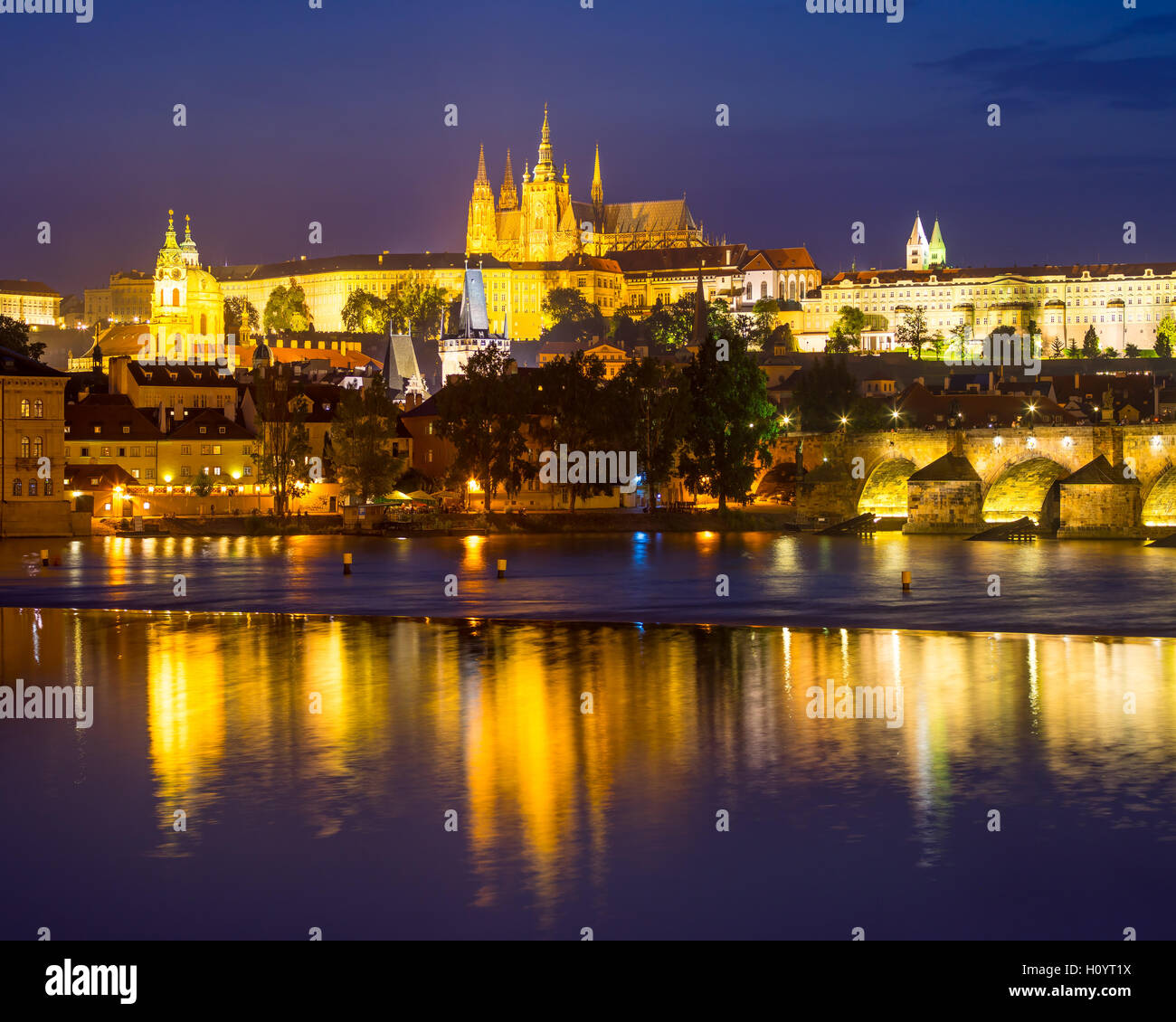 Views of the River Vltava, Charles Bridge and the Castle beyond. Prague Czech Republic Europe - Stock Image