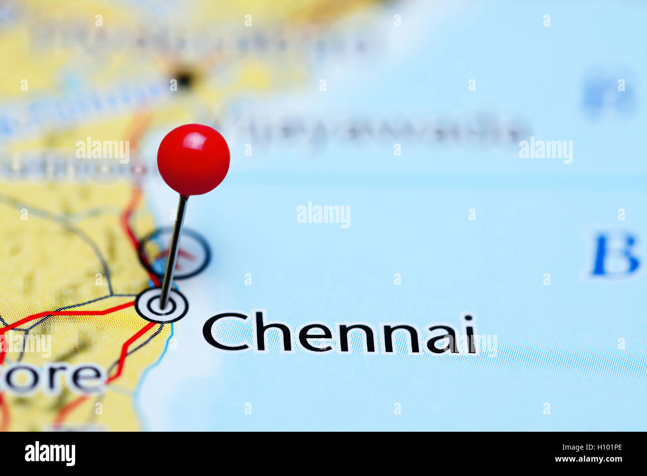 Chennai pinned on a map of India Stock Photo 121088646 Alamy
