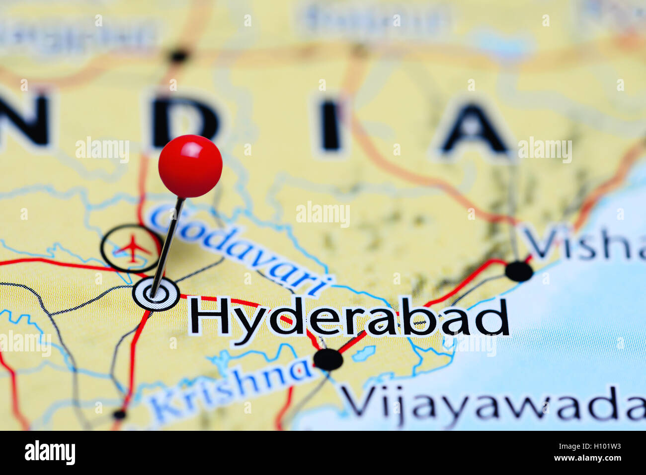 Hyderabad On India Map.Hyderabad Pinned On A Map Of India Stock Photo 121088719 Alamy