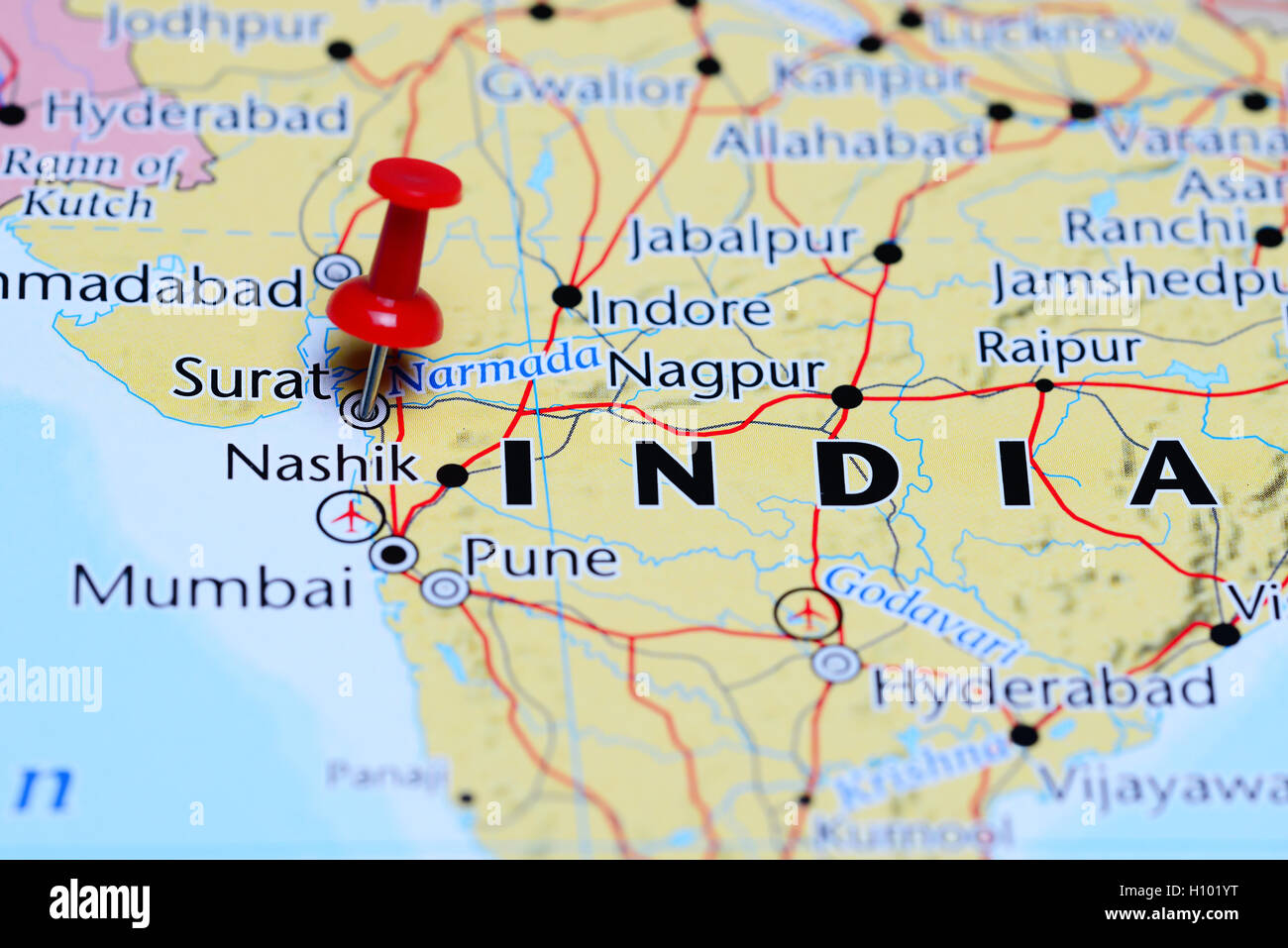 surat in india map Surat Pinned On A Map Of India Stock Photo Alamy surat in india map