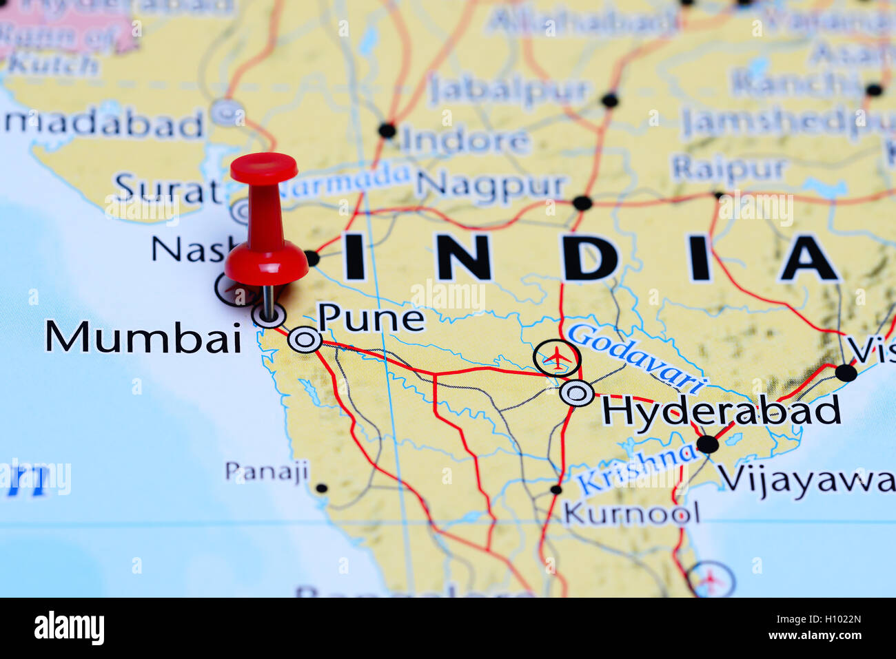 Mumbai In India Map Mumbai pinned on a map of India Stock Photo: 121088877   Alamy