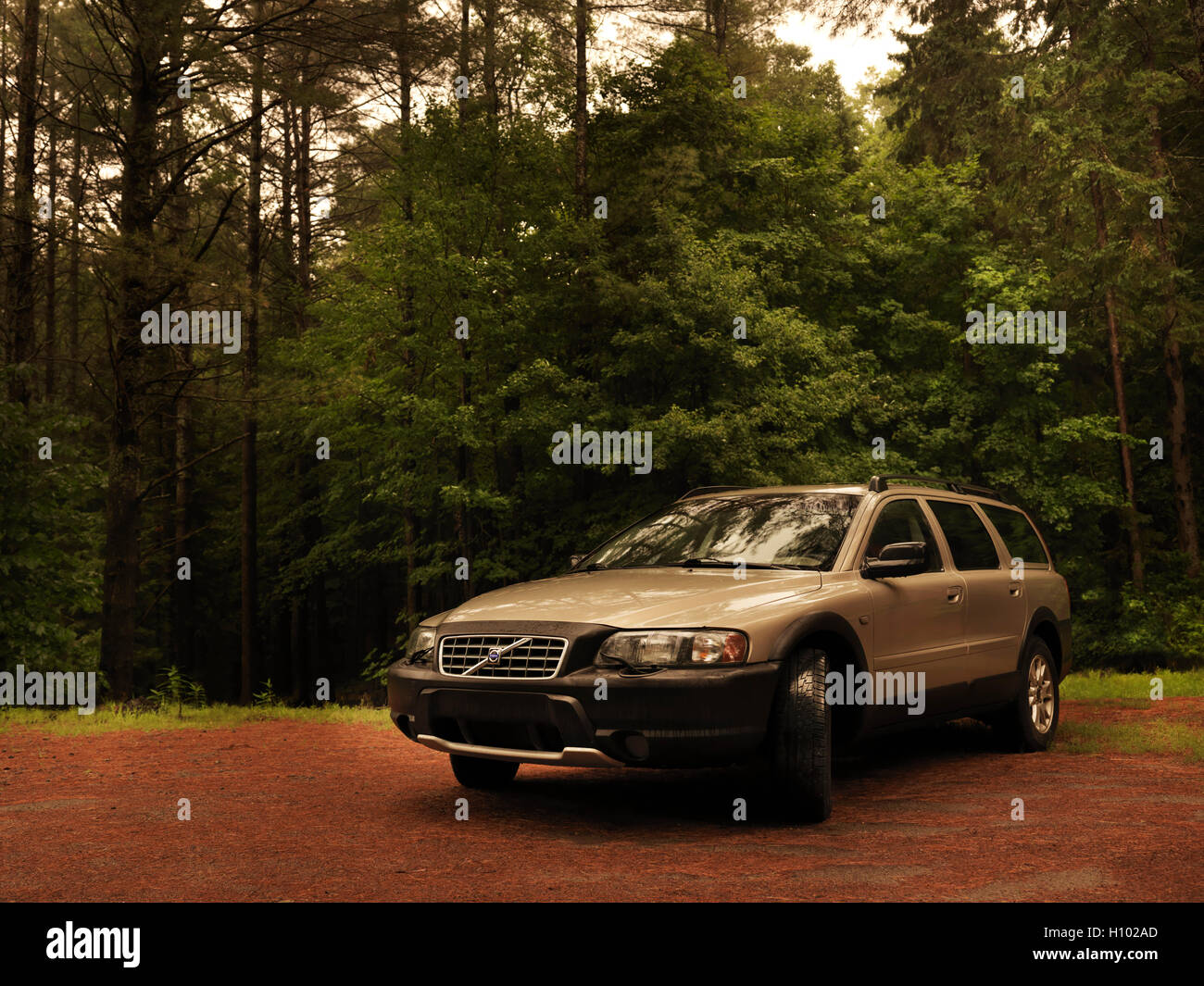 2004 Volvo XC70 car in the countryside nature scenic with forest trees in the background. Muskoka, Ontario, Canada. Stock Photo