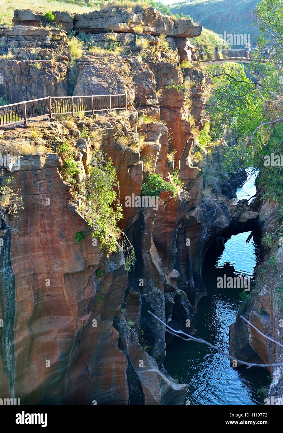 Bourke's Luck Potholes a natural water feature at the beginning of the Blyde River Canyon.Through countless - Stock Image