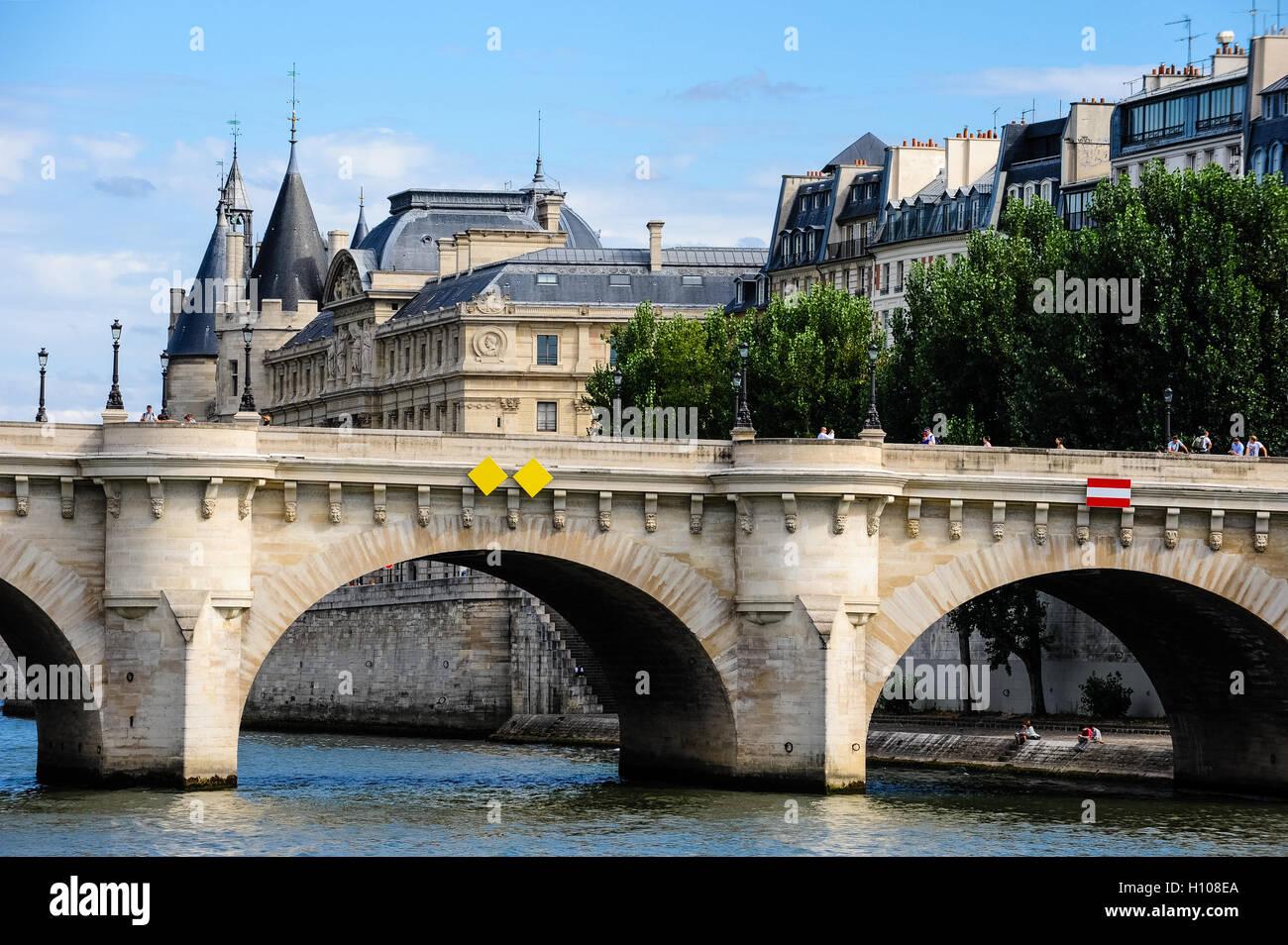 Paris, France. View from a boat on the river Seine. The Palais de Justice is located in the Île de la Cité, - Stock Image