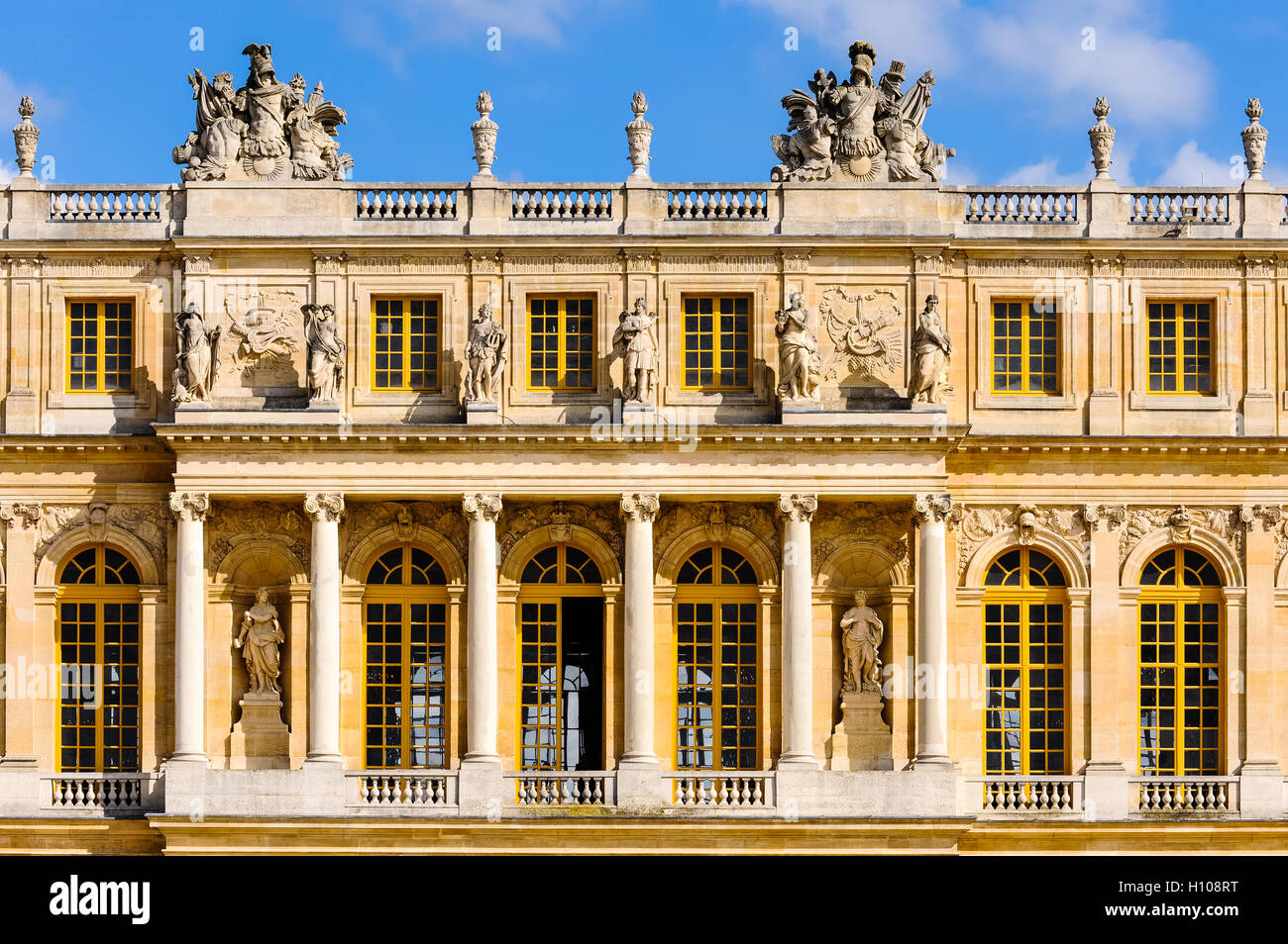 The Palace of Versailles, or simply Versailles, is a royal château close to Paris, France. - Stock Image