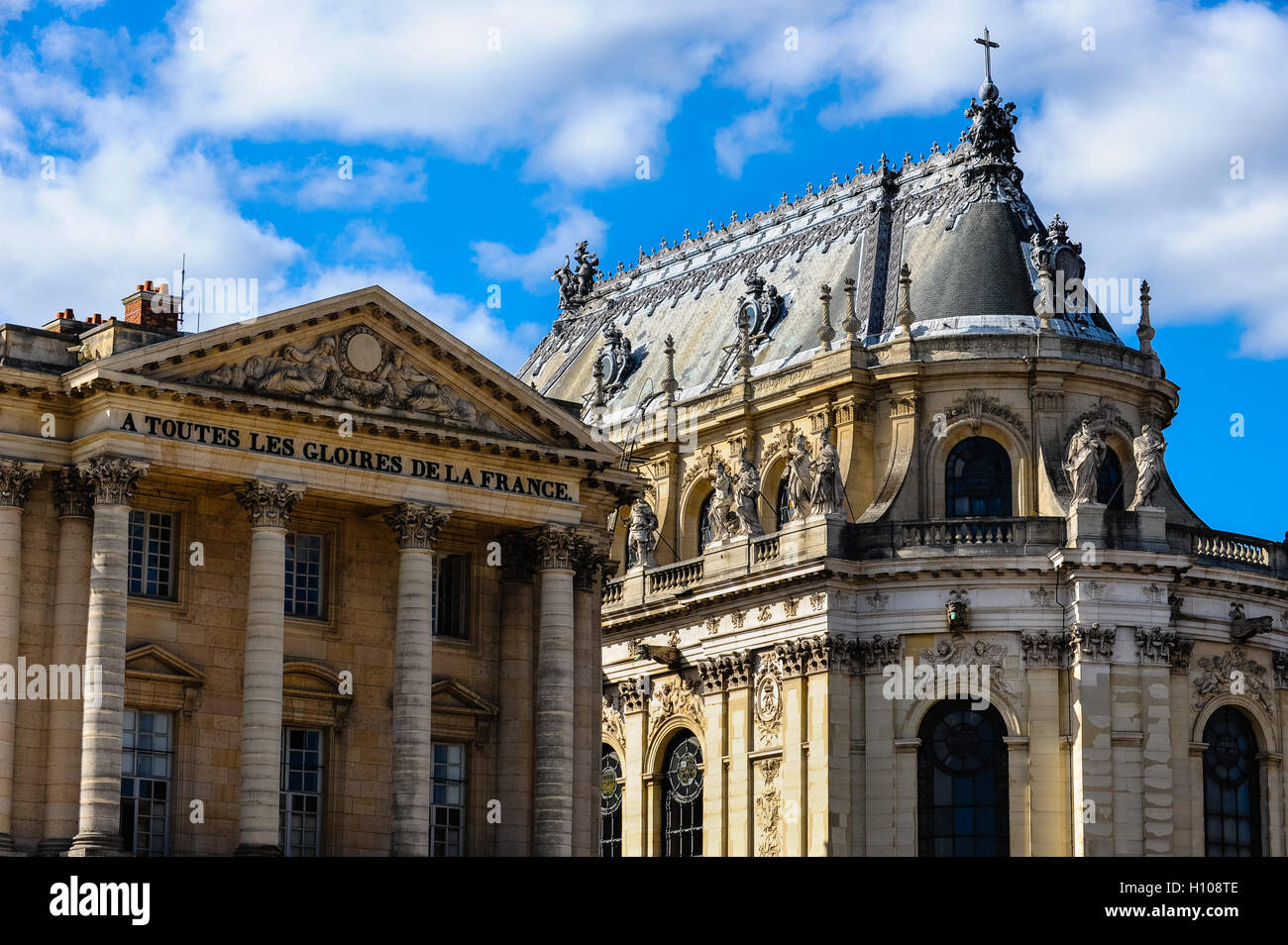 The Palace of Versailles, or simply Versailles, is a royal château close to Paris, France. Pavillon Gabriel - Stock Image