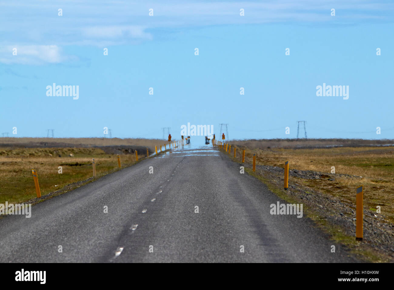 heat haze on route 1 ringroad through the lava fields of southern Iceland - Stock Image