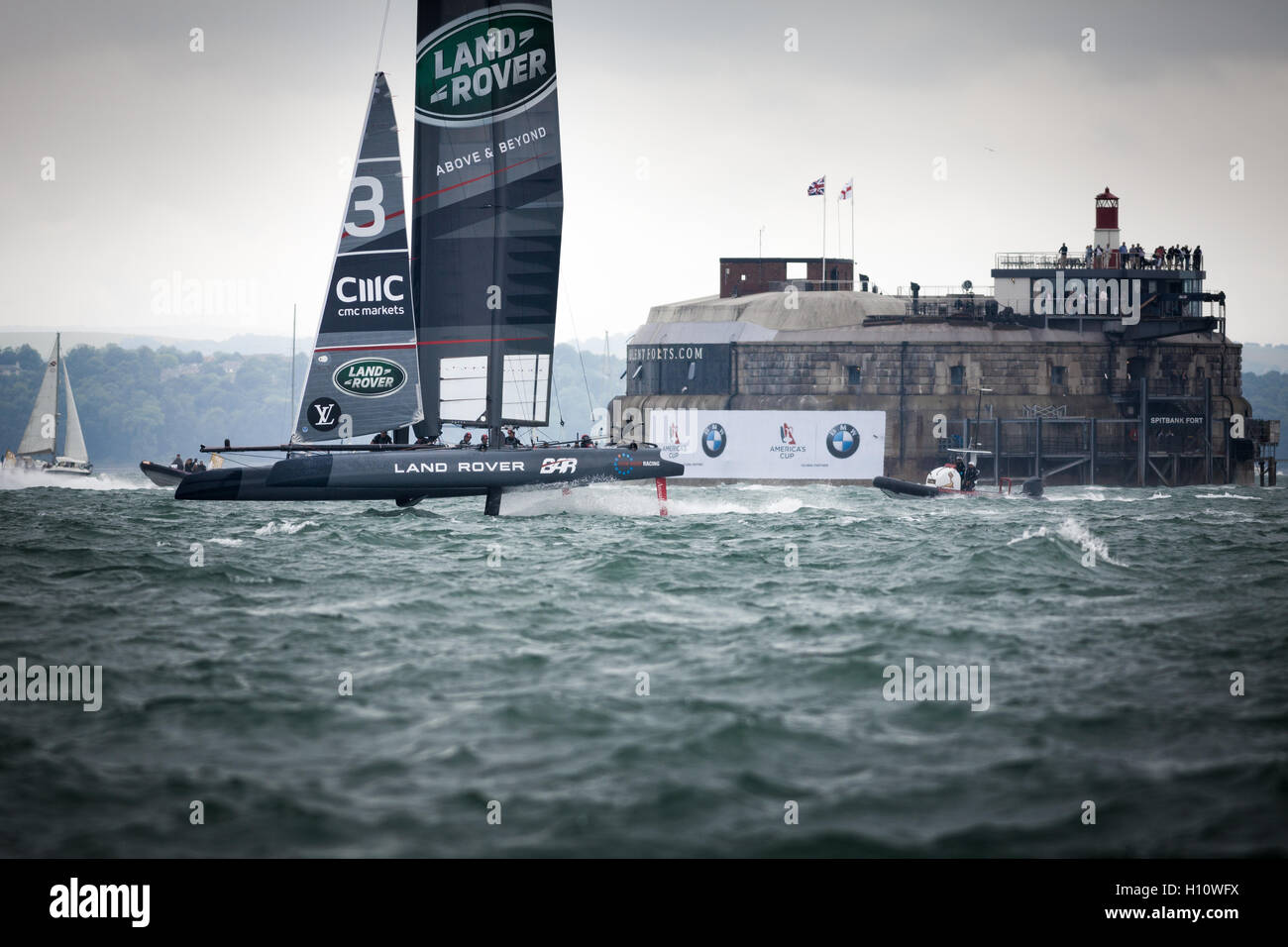 Land Rover BAR win the 2016 America's Cup World Series event held in Portsmouth - Stock Image