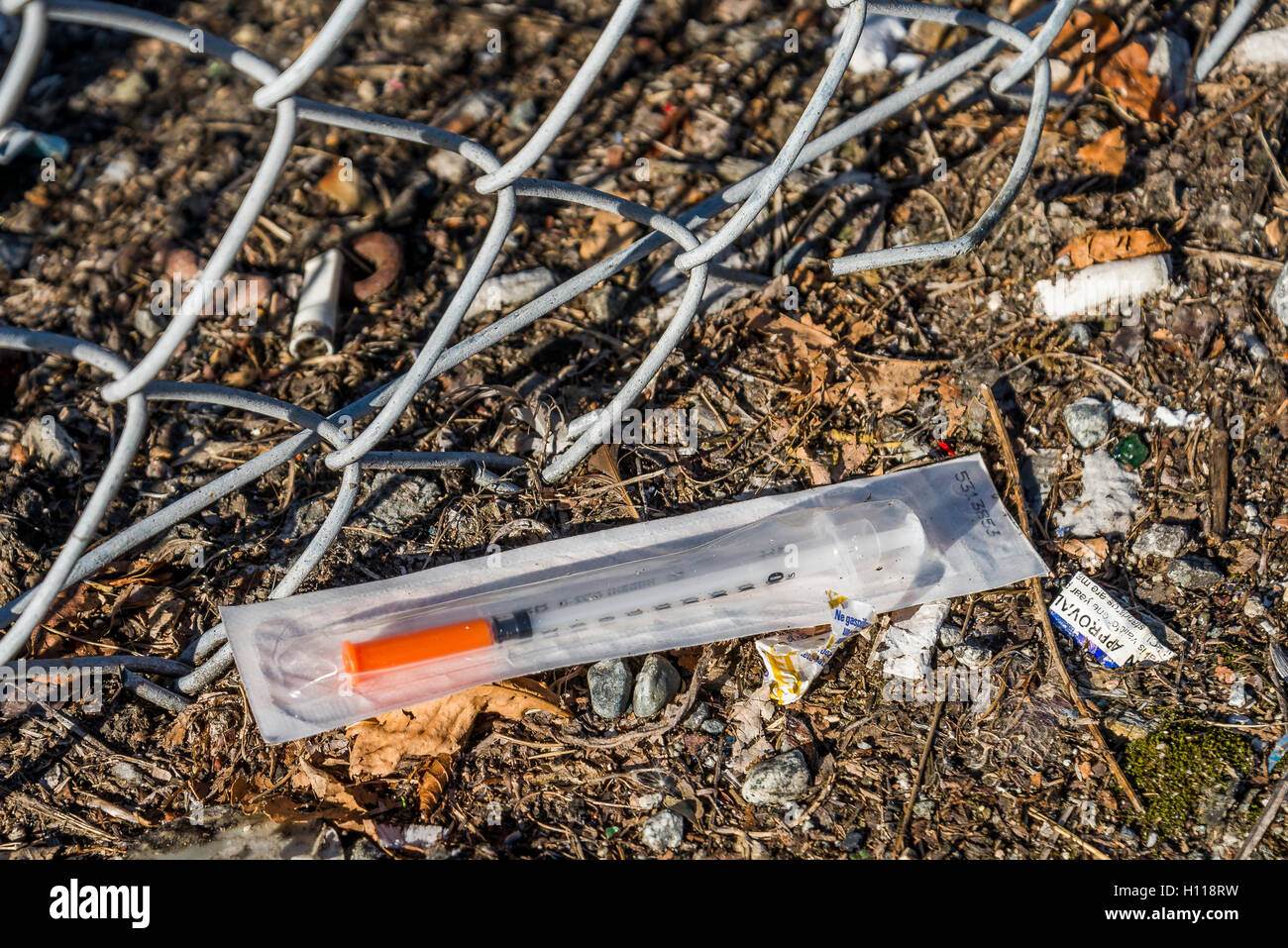 Discarded hypodermic needle, Vancouver, British Columbia, Canada, - Stock Image