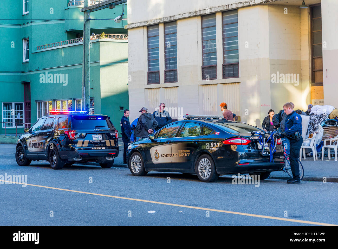 Police incident, DTES, Vancouver, British Columbia, Canada, - Stock Image