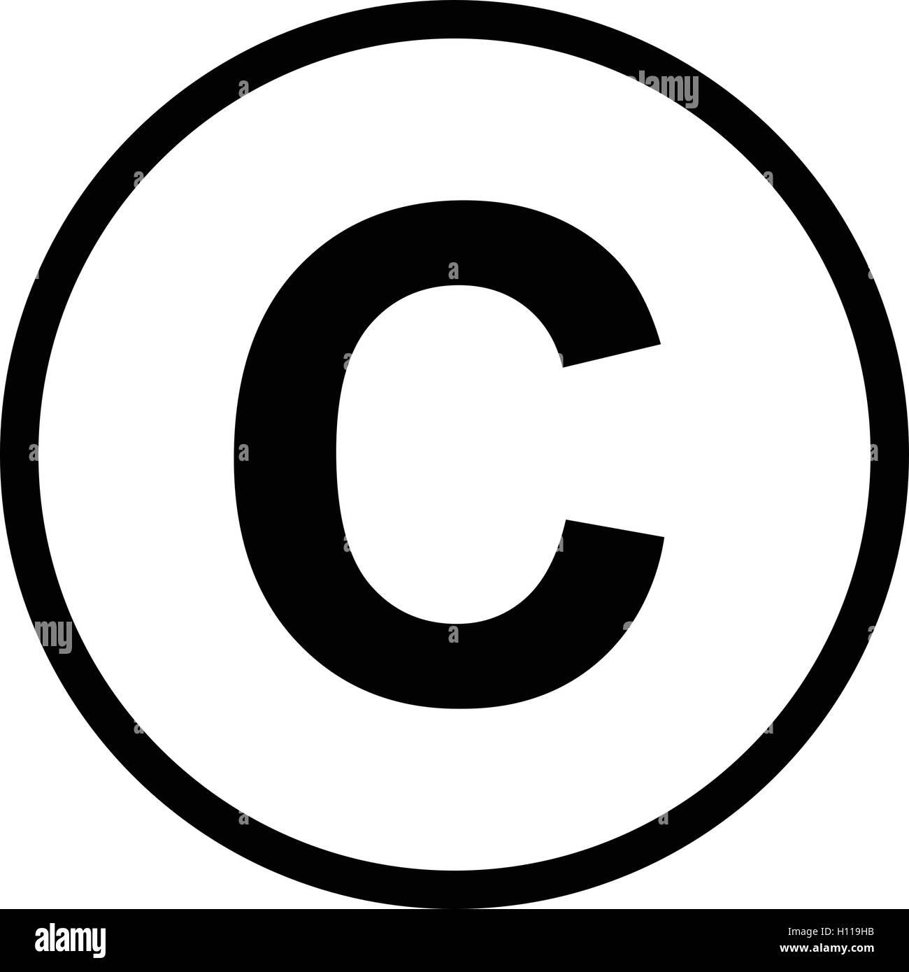 Copyright Symbol Isolated Black C Sign Vector Illustration Stock