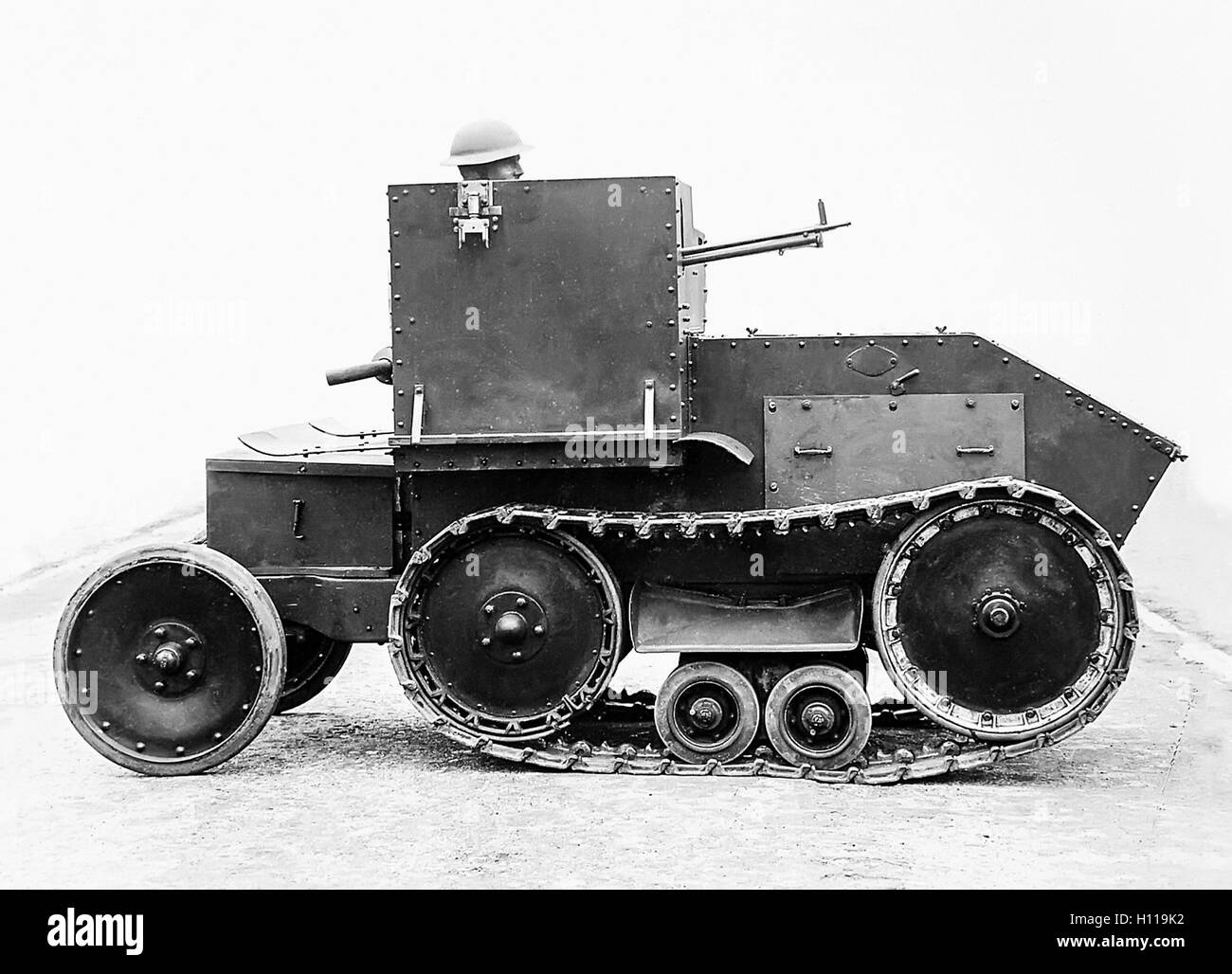 Morris-Martel tankette, British small one man tank designed for reconnaissance developed by Colonel Giffard Le Quesne - Stock Image