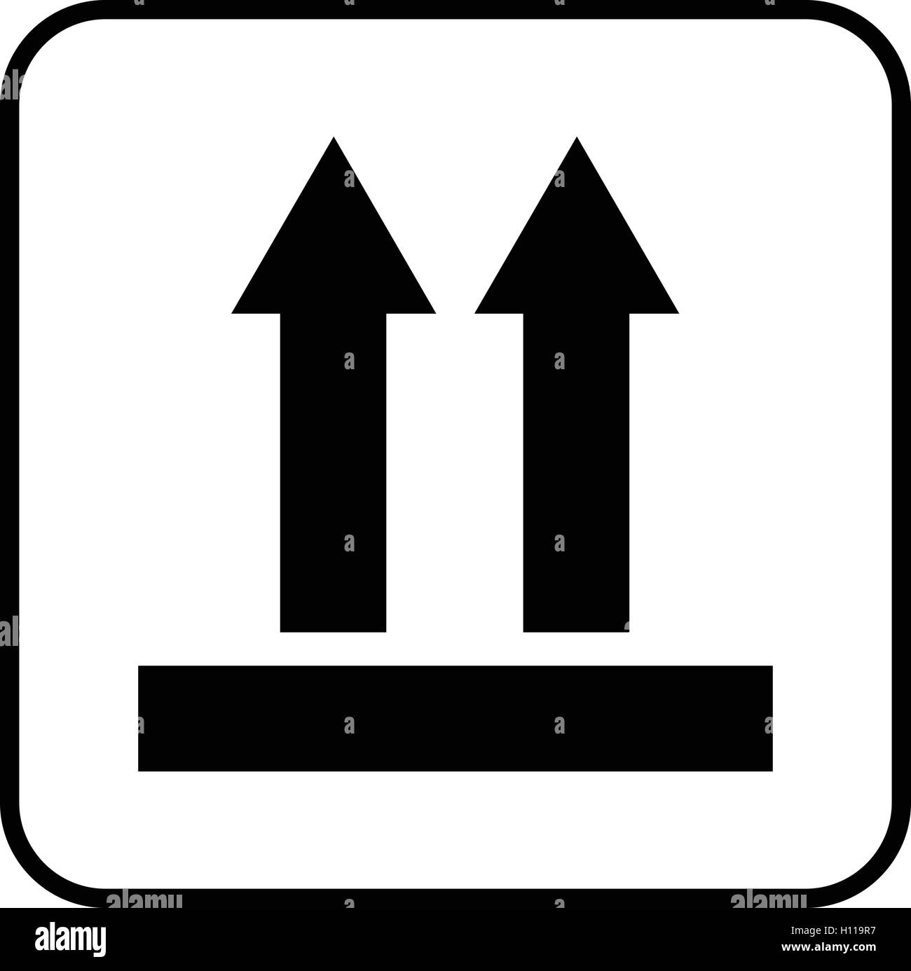 Package Up Side Symbol Two Arrows Up Sign This Side Up Sign