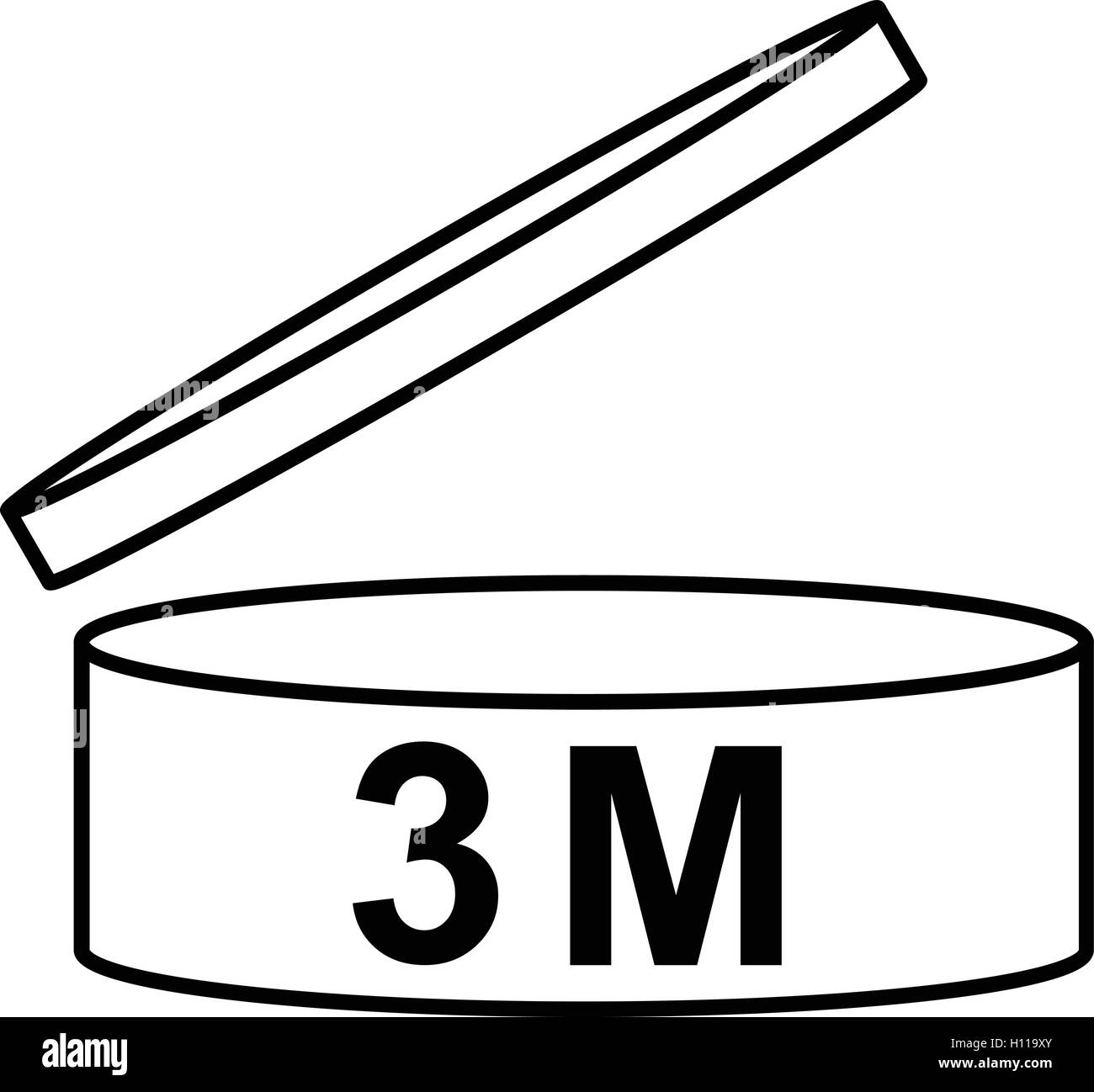 PAO cosmetics symbol 3M, Period after opening symbol three month, vector illustration. Stock Vector