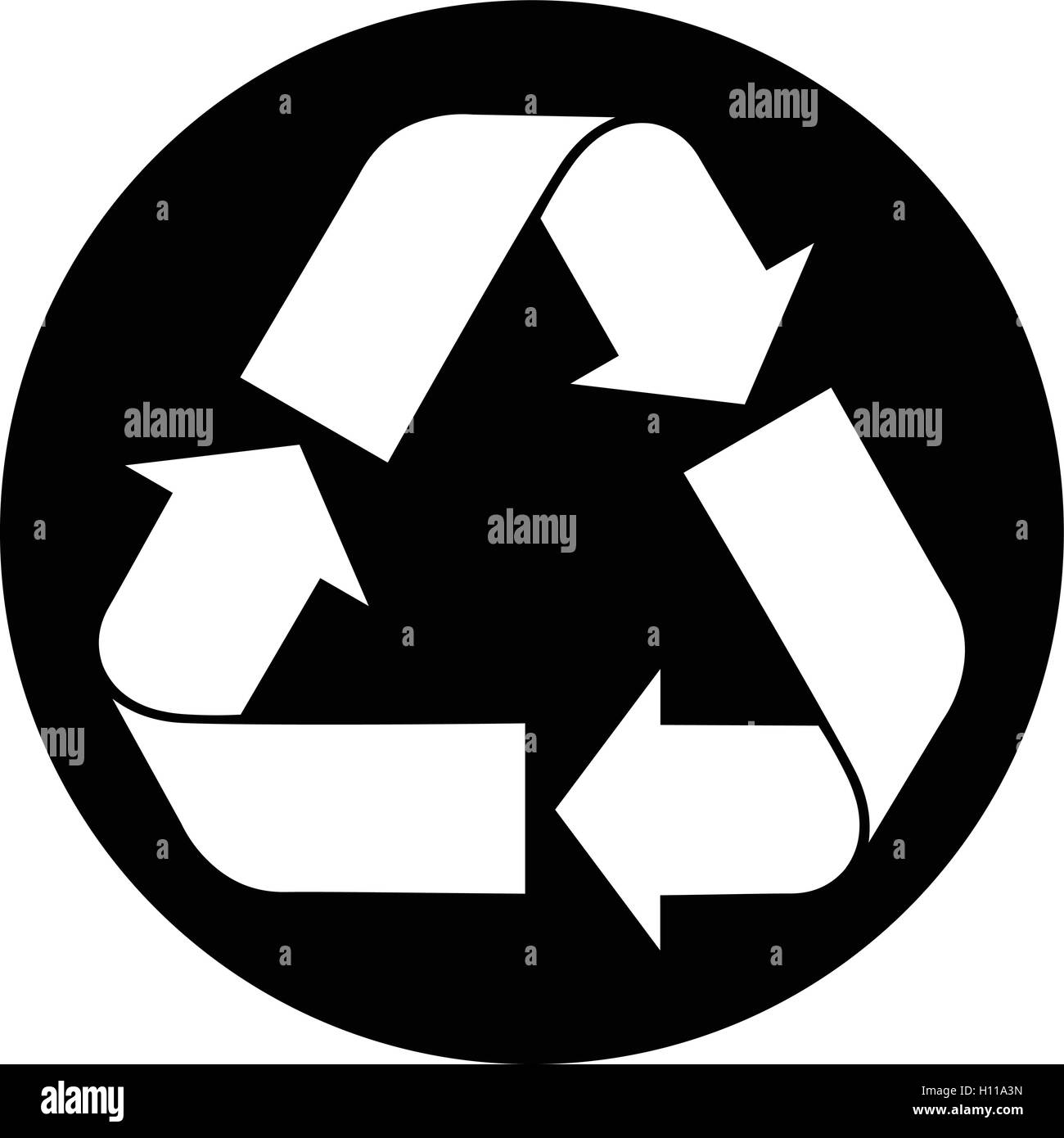 Recycled Paper Symbol White Recycle Icon On The Black Round Stock