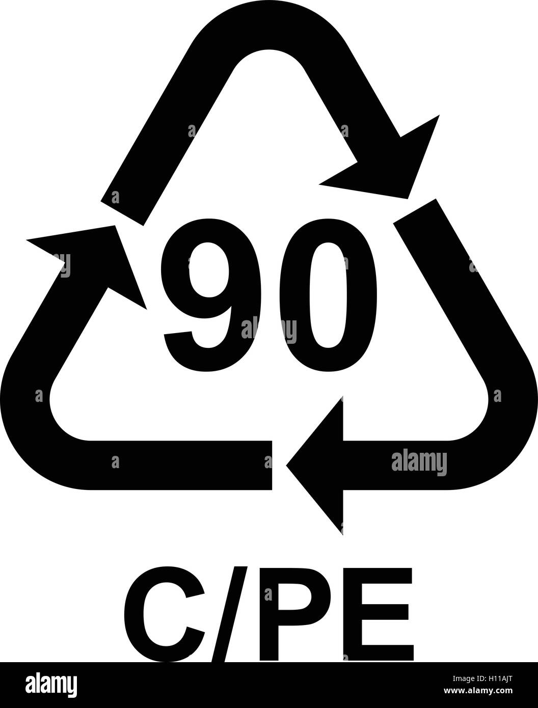 Composites recycling symbol C/PE 90, Plastic recycling code C/PE 90, vector illustration. - Stock Image