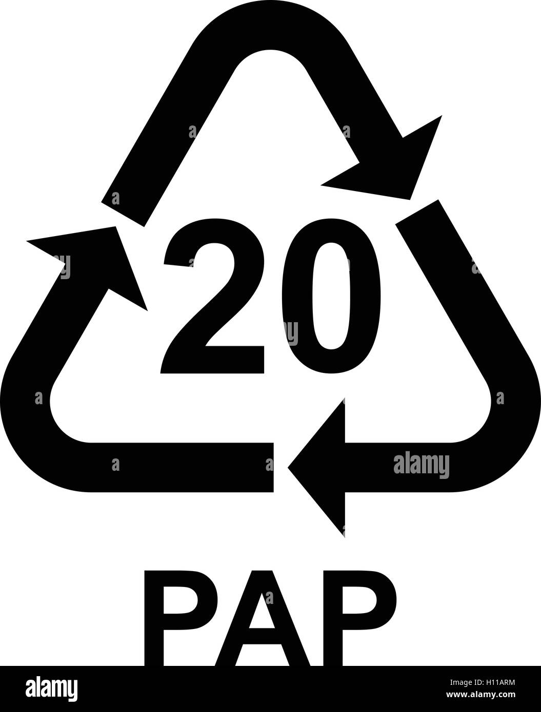 Paper recycling symbol PAP 20 cardboard, vector illustration. - Stock Vector