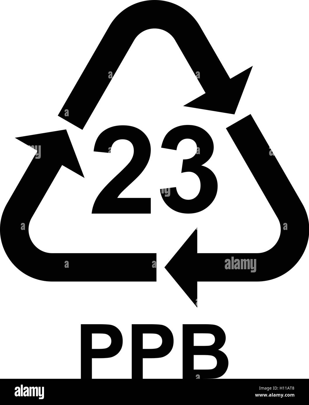 Paper recycling symbol PAP 23 paperboard, vector illustration. - Stock Vector