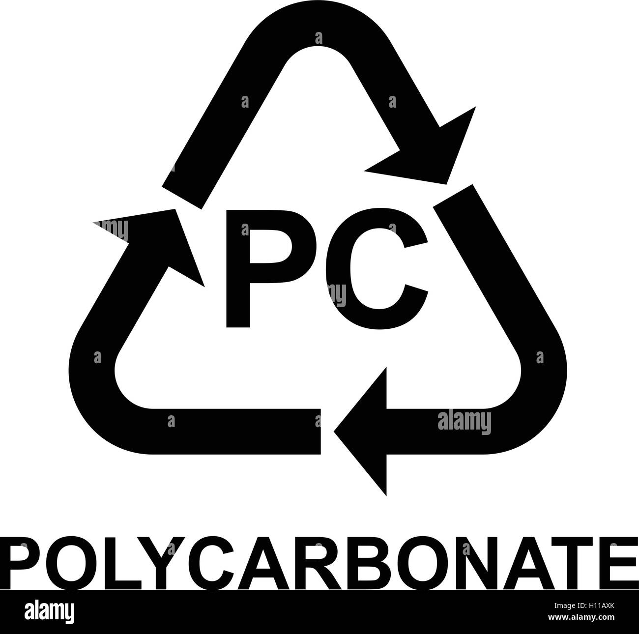 Plastic Recycling Symbol Pc Polycarbonate Vector Illustration