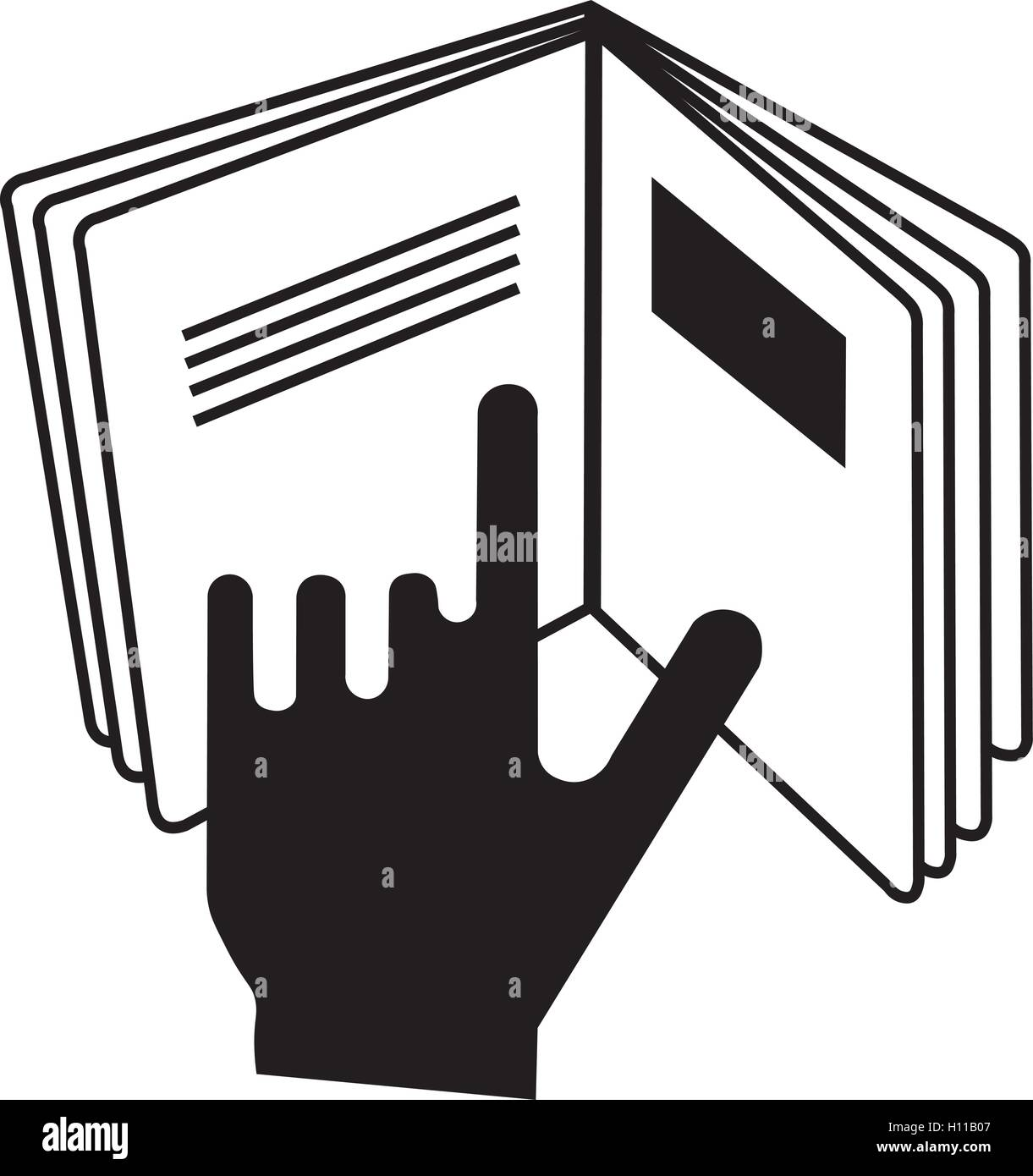 Refer to insert cosmetics symbol, a hand pointing at a book icon, vector illustration. - Stock Image