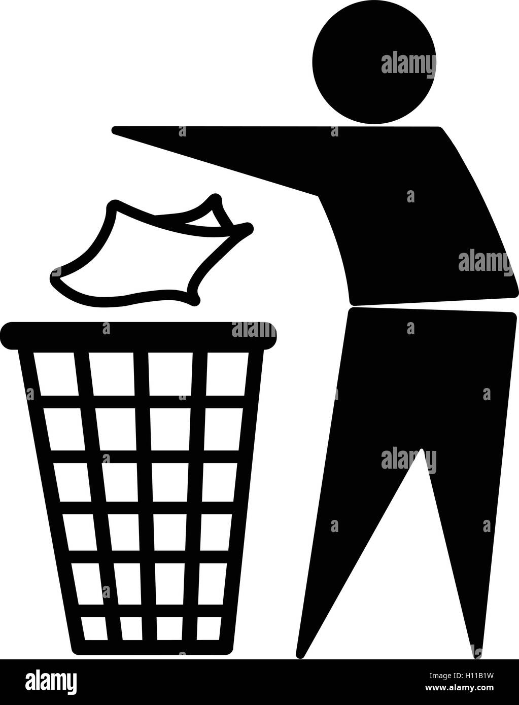 Tidy Man Symbol Do Not Litter Icon Keep Clean Dispose