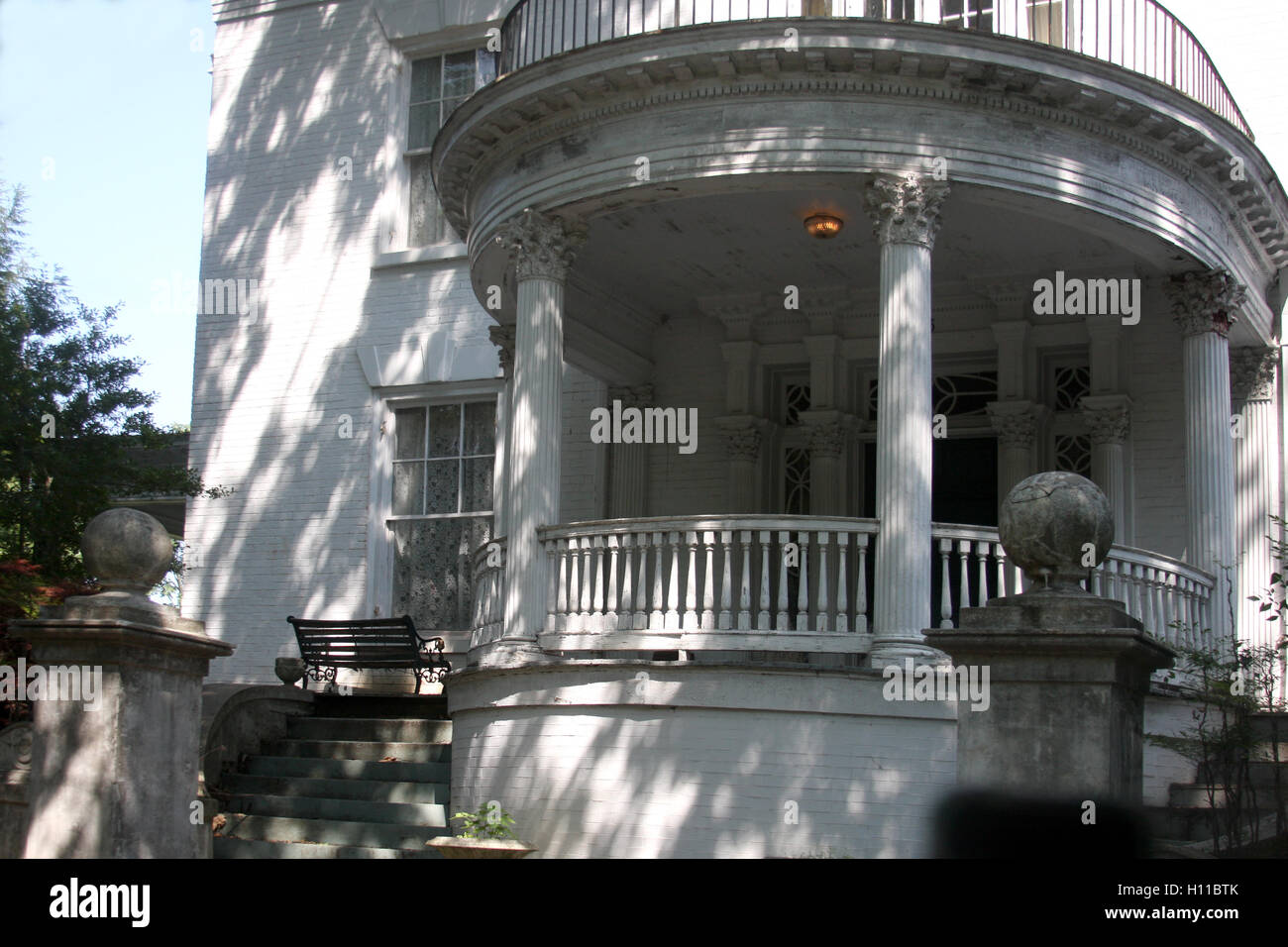 Round Porch Of House With Classical Architecture Stock Photo