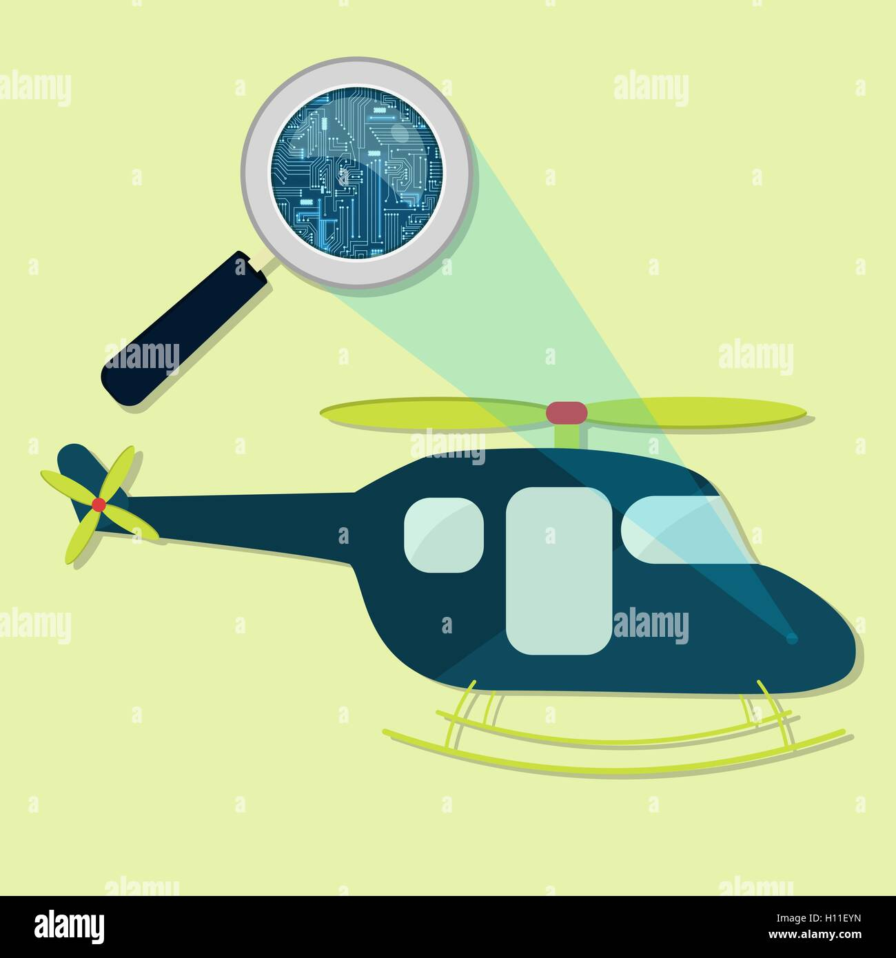 Magnifying glass enlarging electronic circuit of helicopter. Concept. - Stock Vector
