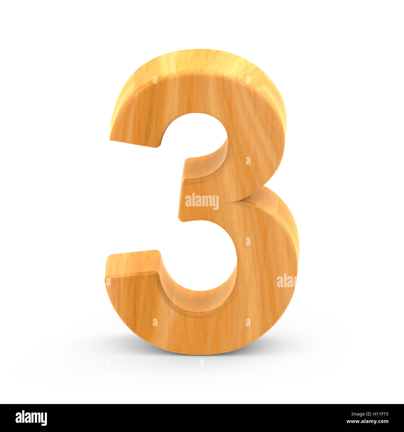 3D rendering white number 3 isolated on white background, light brown wooden grain, natural surface grain - Stock Image