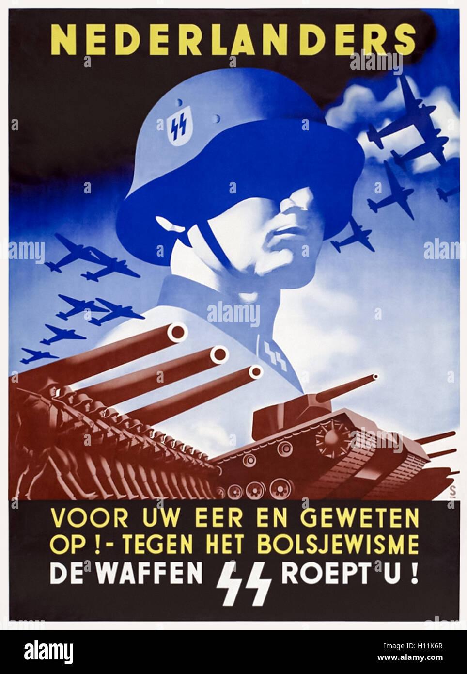 'Nederlanders Voor Uw Eer En Geweten Op! - Tegen het Bolsjewisme' (Netherlanders: For Your Honour and Conscience - Stock Image