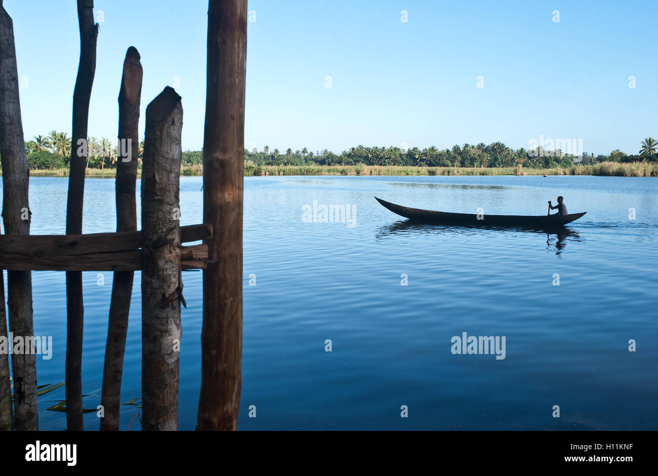 Man boating in the Pangalanes canal ( Madagascar) - Stock Image