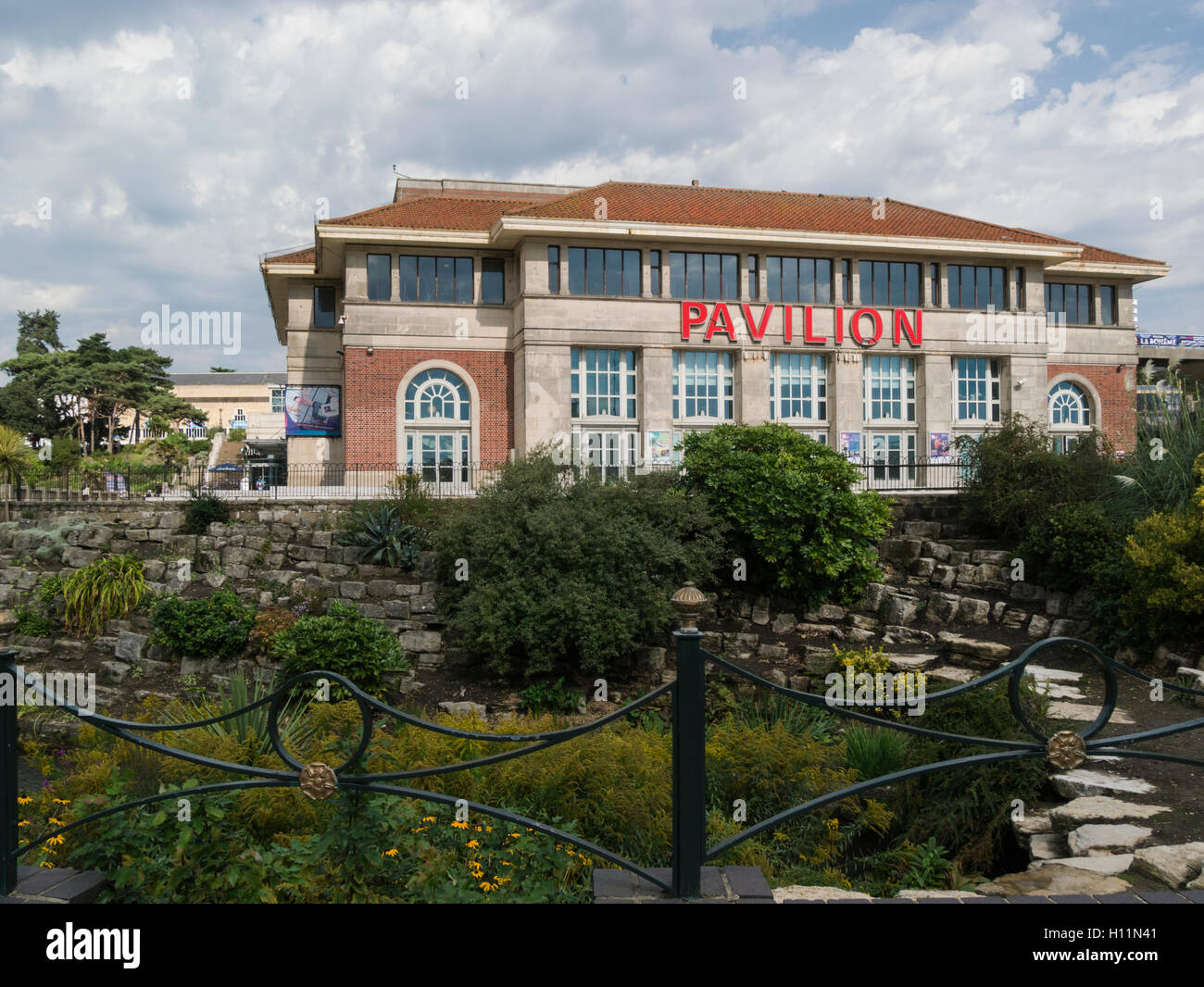 Bournemouth Pavilion Theatre from Lower Gardens Dorset England UK it has shows events and touring operas - Stock Image