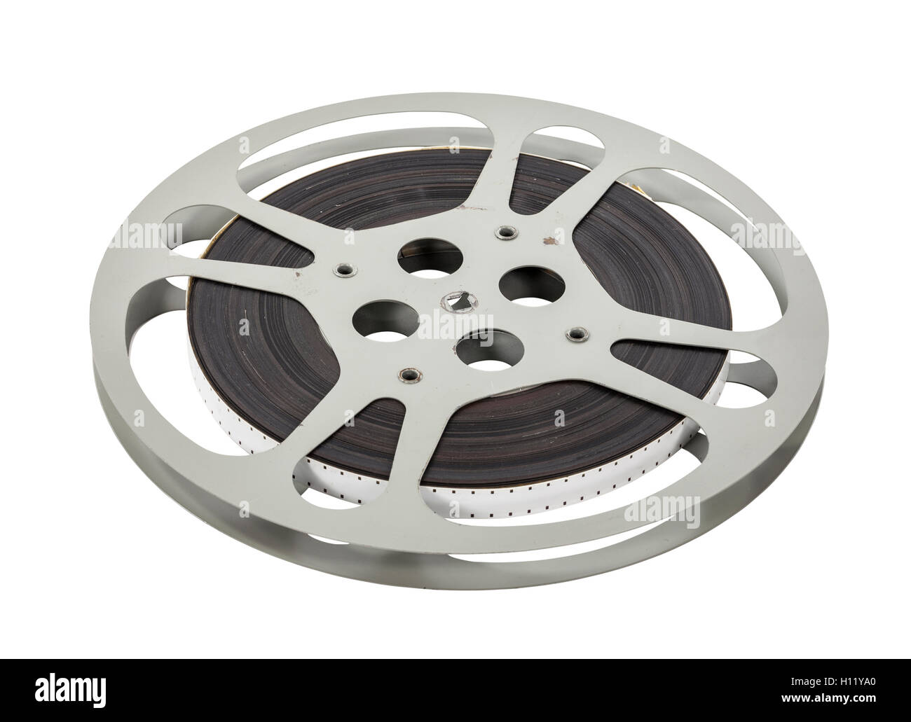 Vintage double sprocket 16mm film reel isolated on white. - Stock Image