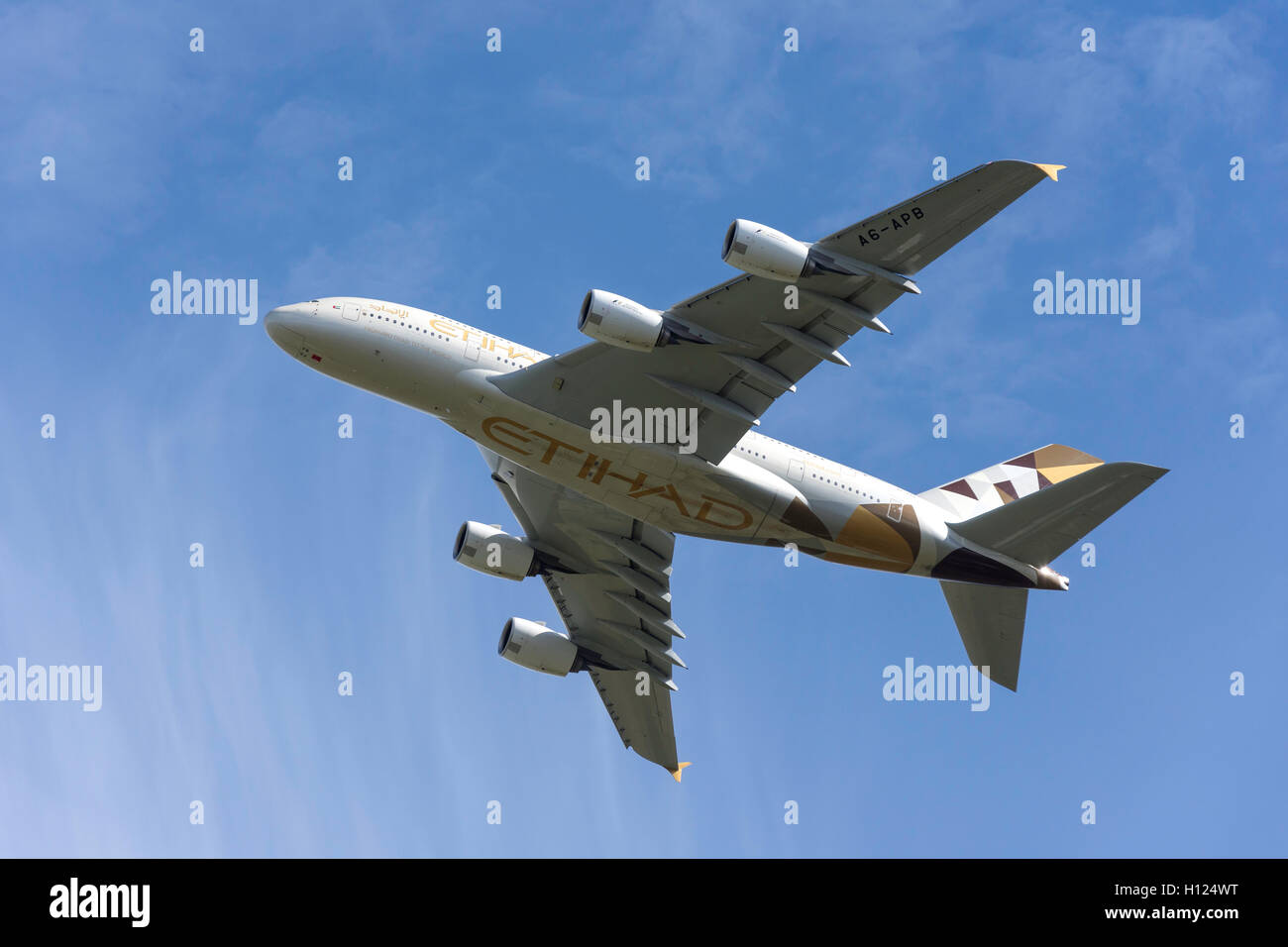 Etihad Airways Airbus A380-861 taking off from Heathrow Airport, Greater London, England, United Kingdom - Stock Image