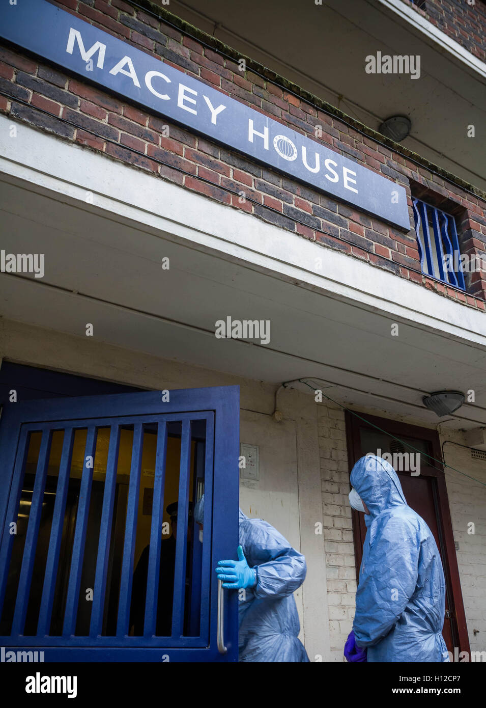Counter-terrorism forensic team search and remove items from Islamist terrorist Michael Adebowale's flat in - Stock Image