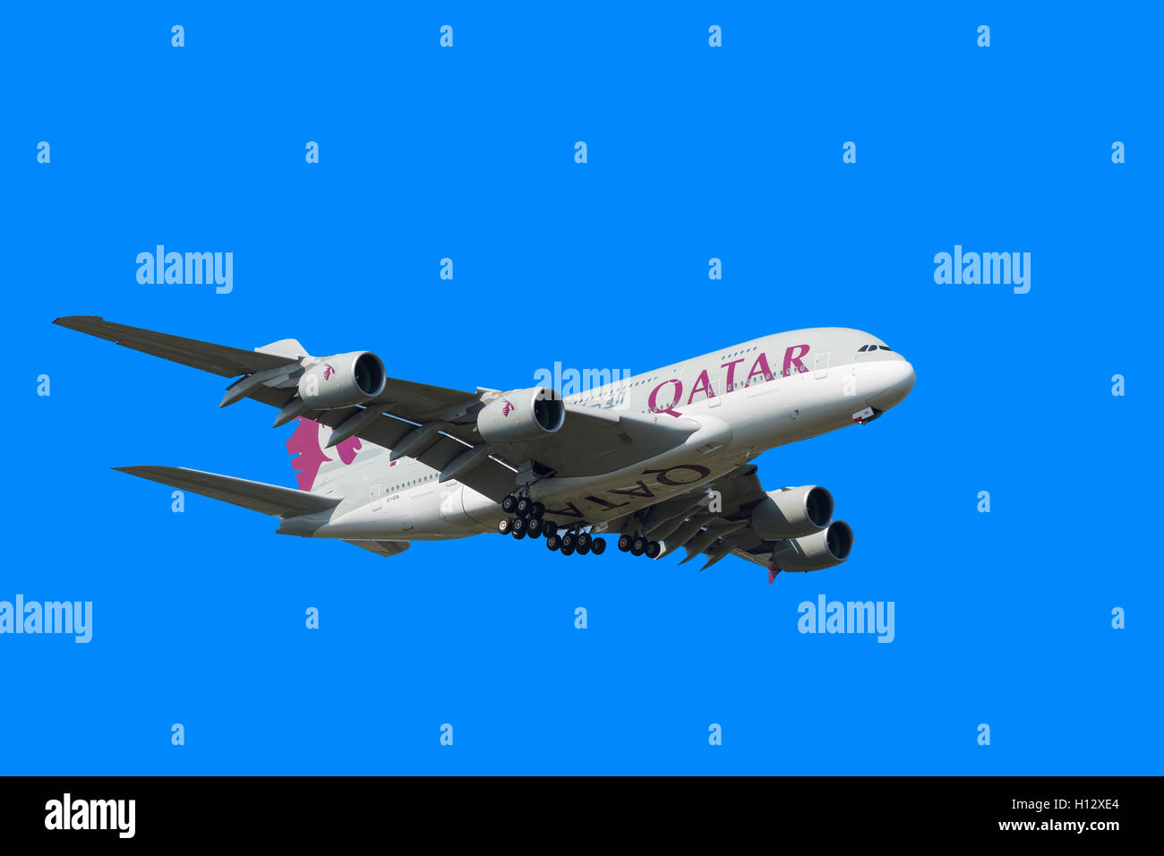 Qatar Airways Airbus A380 landing at Heathrow Airport, London Borough of Hillingdon, Greater London, England, United - Stock Image