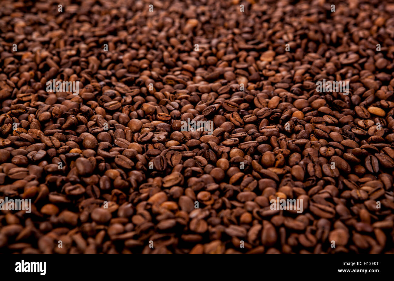 a lot of roasted coffee beans - Stock Image