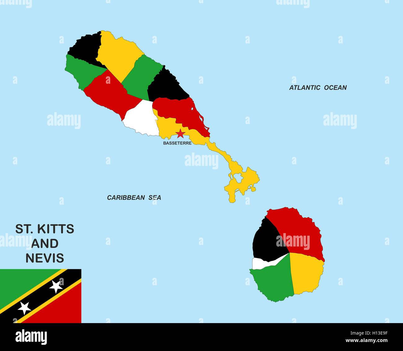 saint kitts and nevis map Stock Photo: 121164331 - Alamy