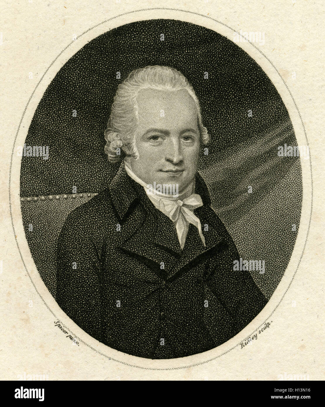 Antique 1801 engraving, George Downing, Esq. George Downing (1762-1800) of Lincoln's Inn was a barrister, called - Stock Image