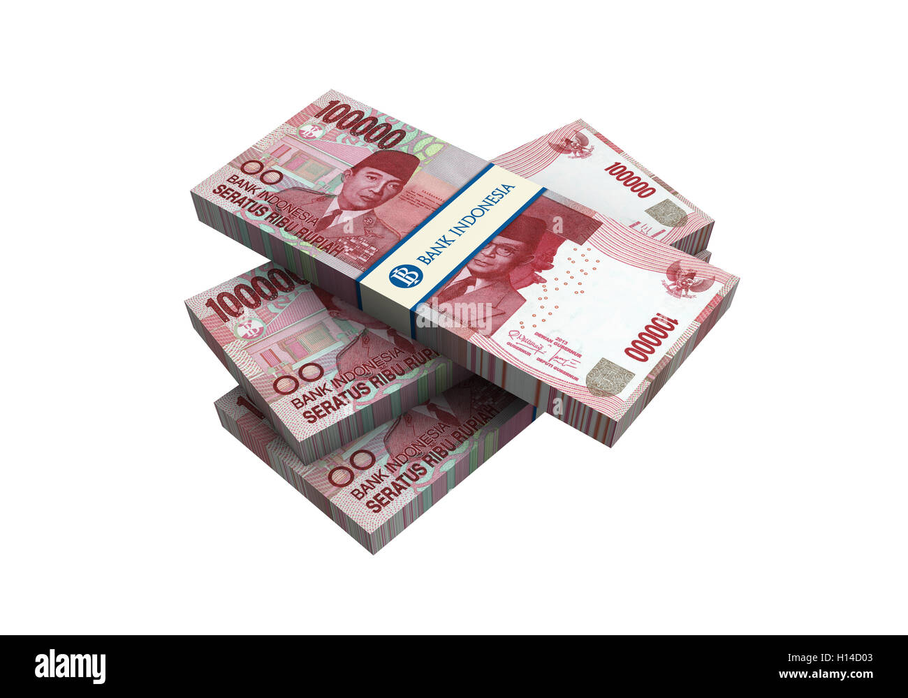 3D Indonesian rupiah money white background - Stock Image