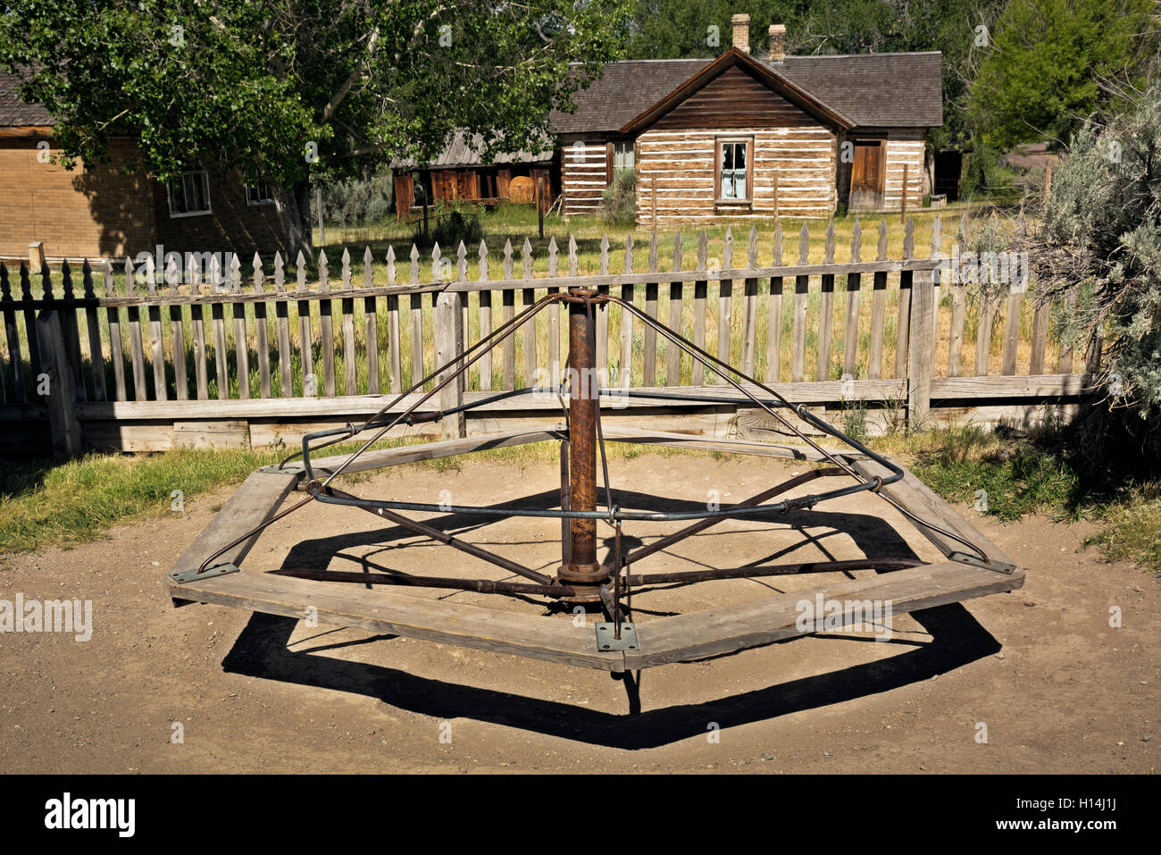 MT00047-00...MONTANA - School yard playground at ghost town of Bannack in Bannack State Park. - Stock Image