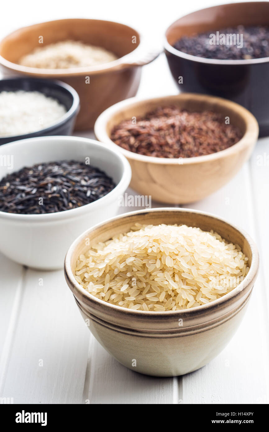 Different rice varieties in bowl. Stock Photo