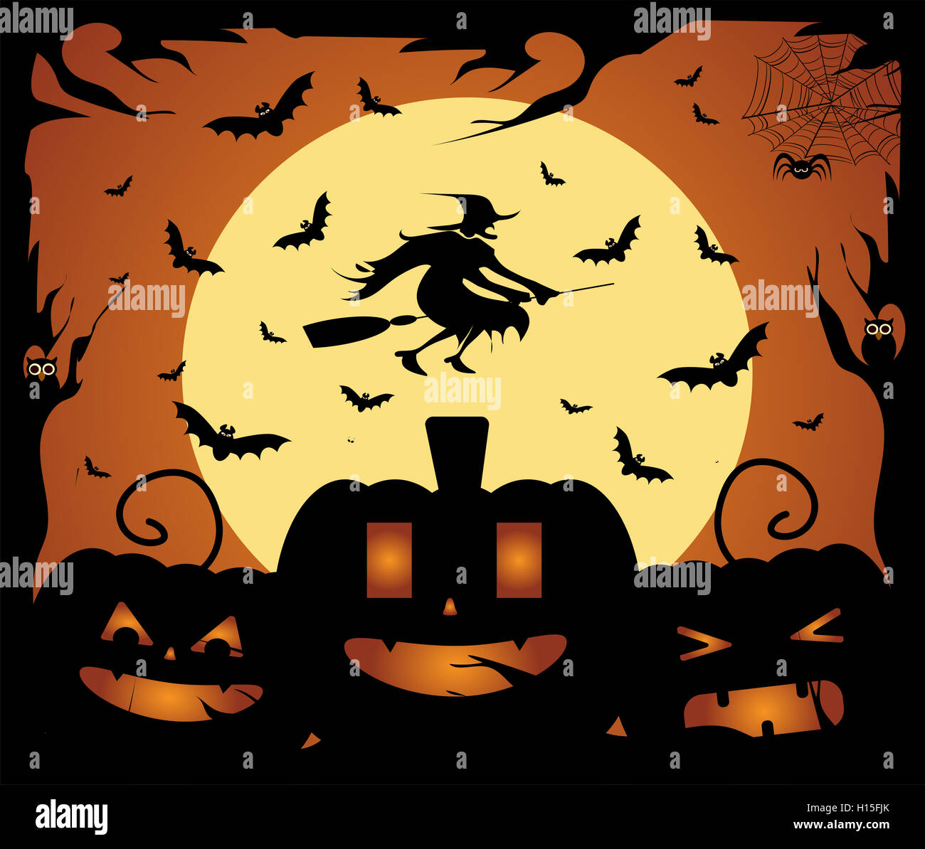 happy halloween background with pumpkins bats and witch stock photo