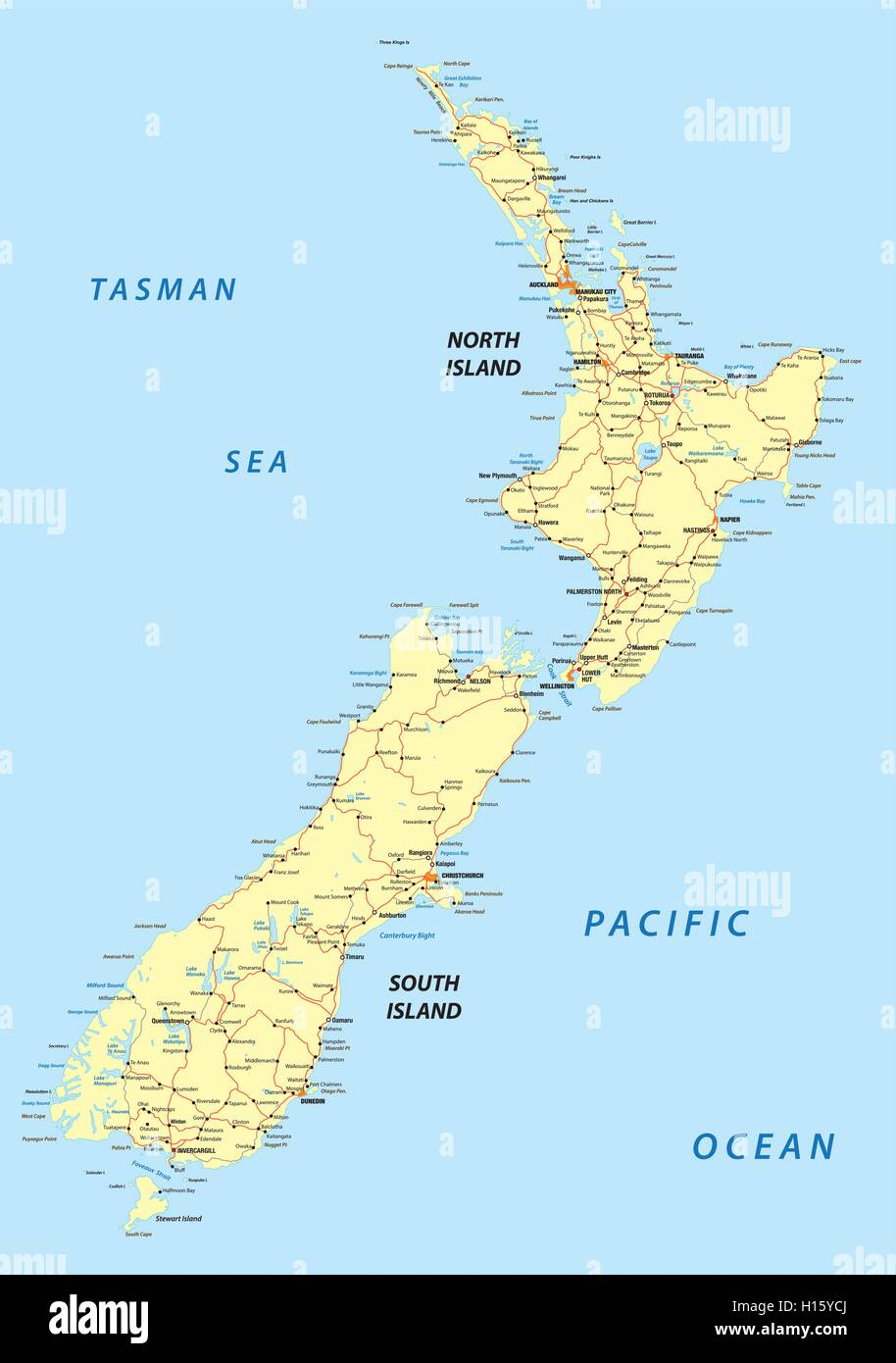 New Zealand Driving Map.New Zealand Road Map Stock Vector Art Illustration Vector