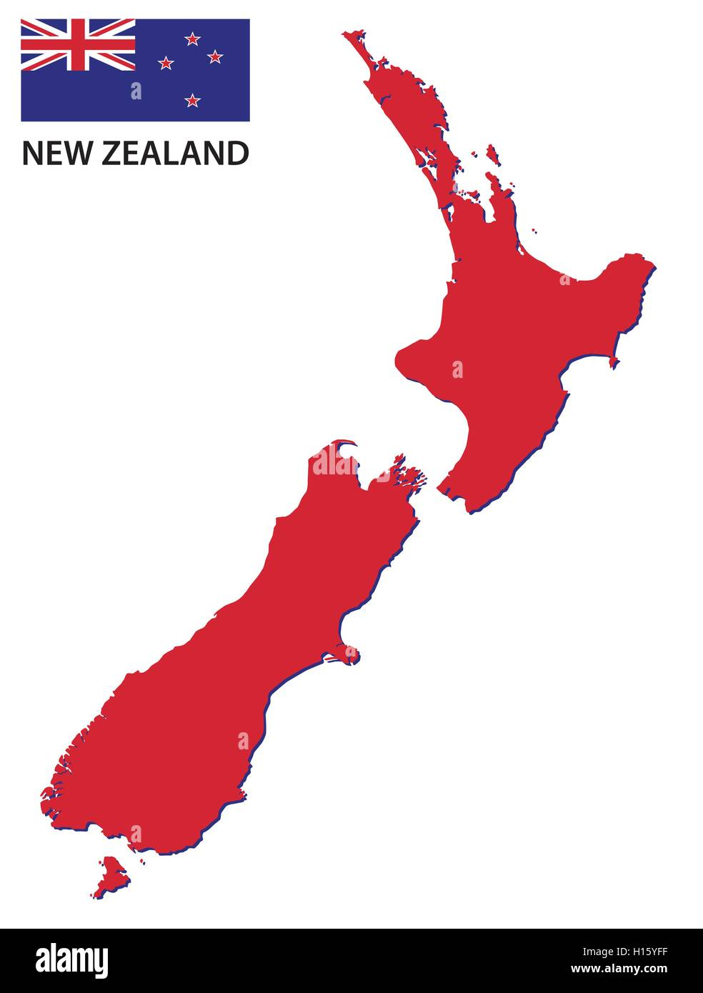 new zealand map with flag - Stock Image