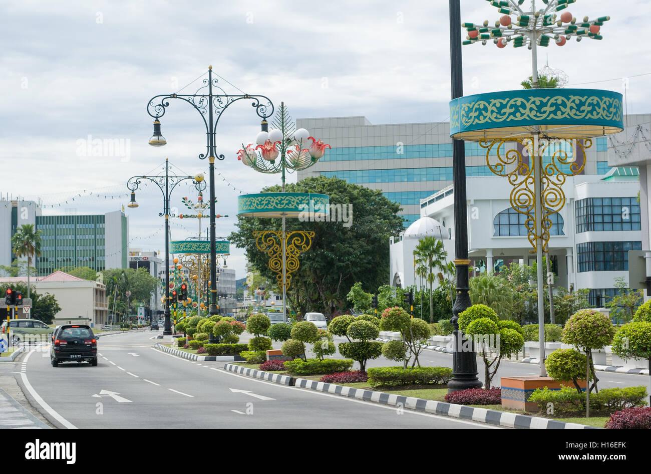Bandar Seri Begawan with beautiful street lamps and topiary gardens - Stock Image