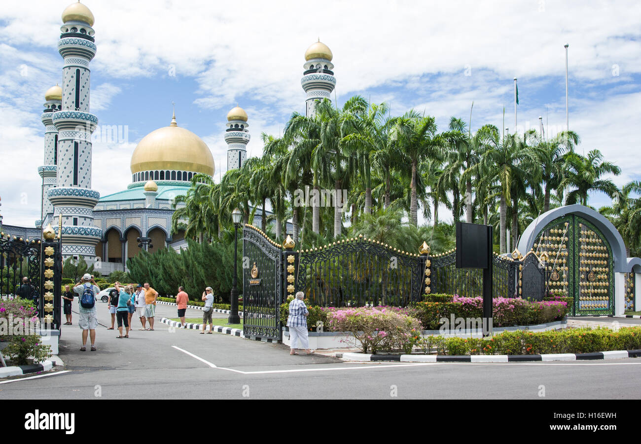 Royal palace in Bandar Seri Begawan, Brunei with many tourists Stock Photo