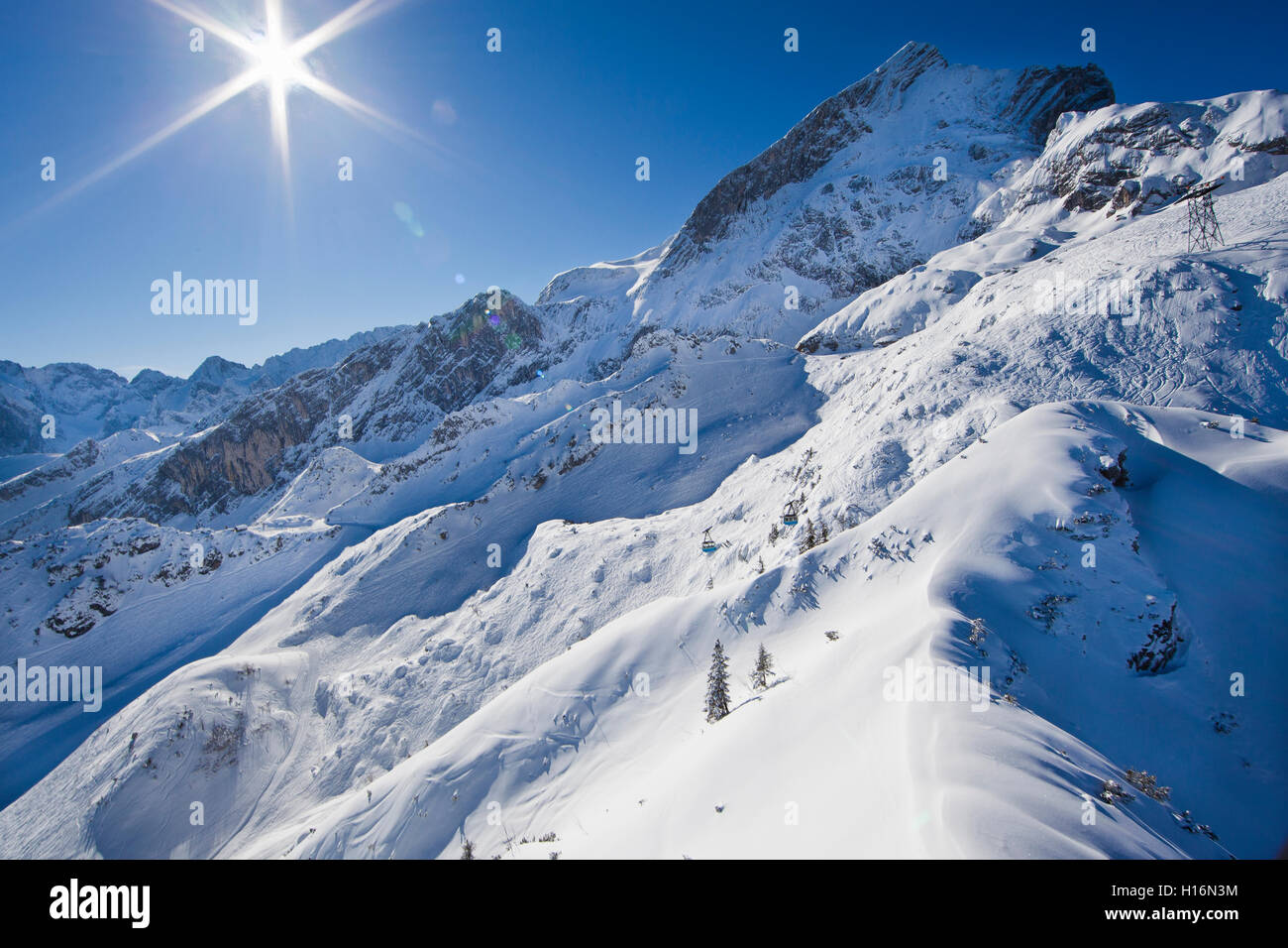 Garmisch Classic ski resort in winter, Alpspitze behind, Wetterstein, Garmisch-Partenkirchen District, Upper Bavaria, - Stock Image