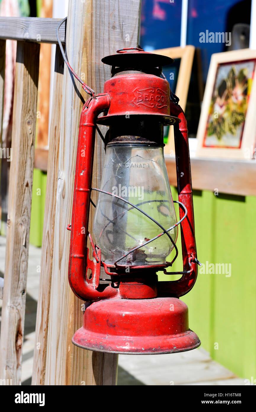 Kerosene lamp on a Tadoussac house, Canada Stock Photo