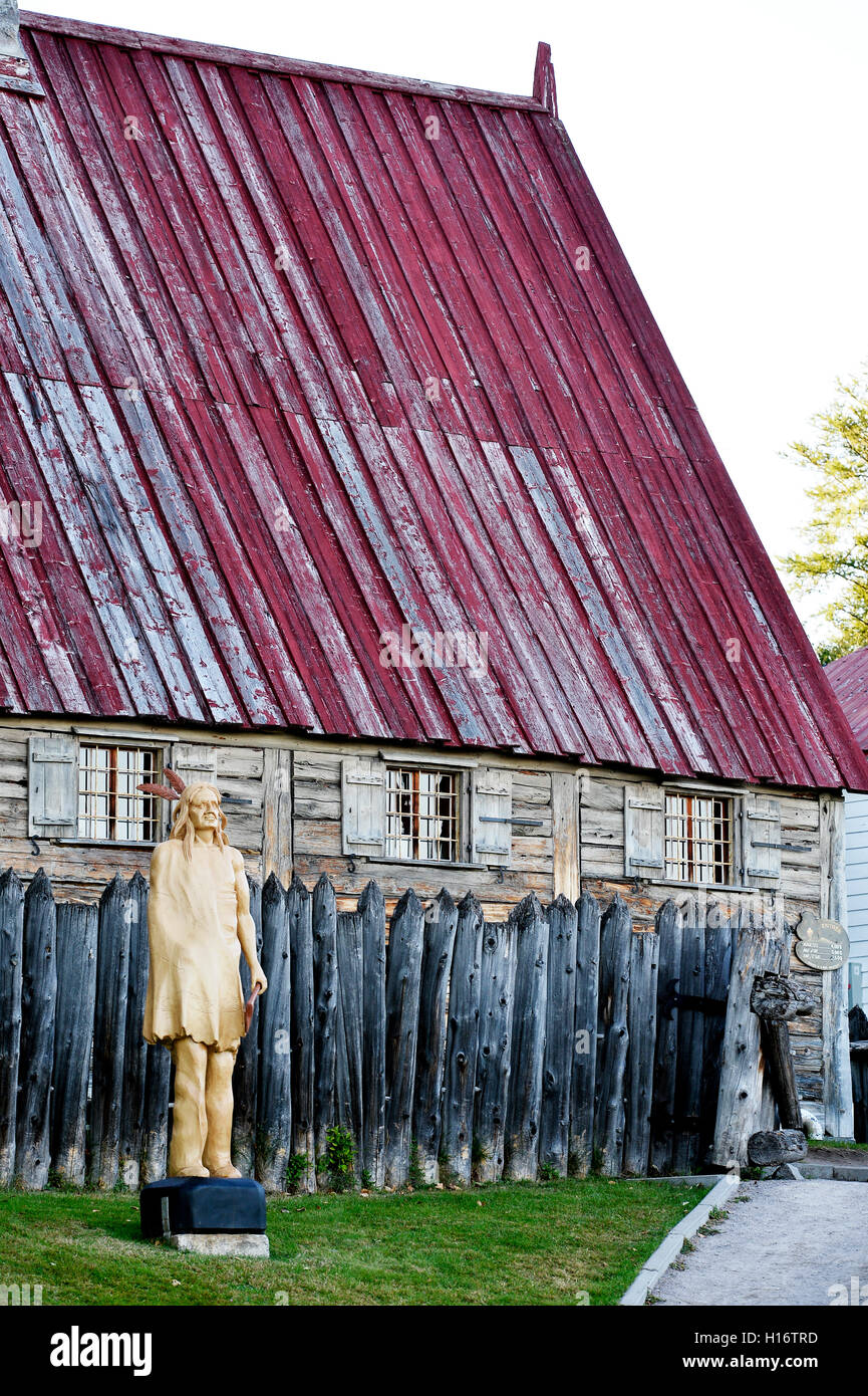 First fur-trading post in Canada, than pierre Chauvin set up in 1600, Tadoussac, Canada - Stock Image